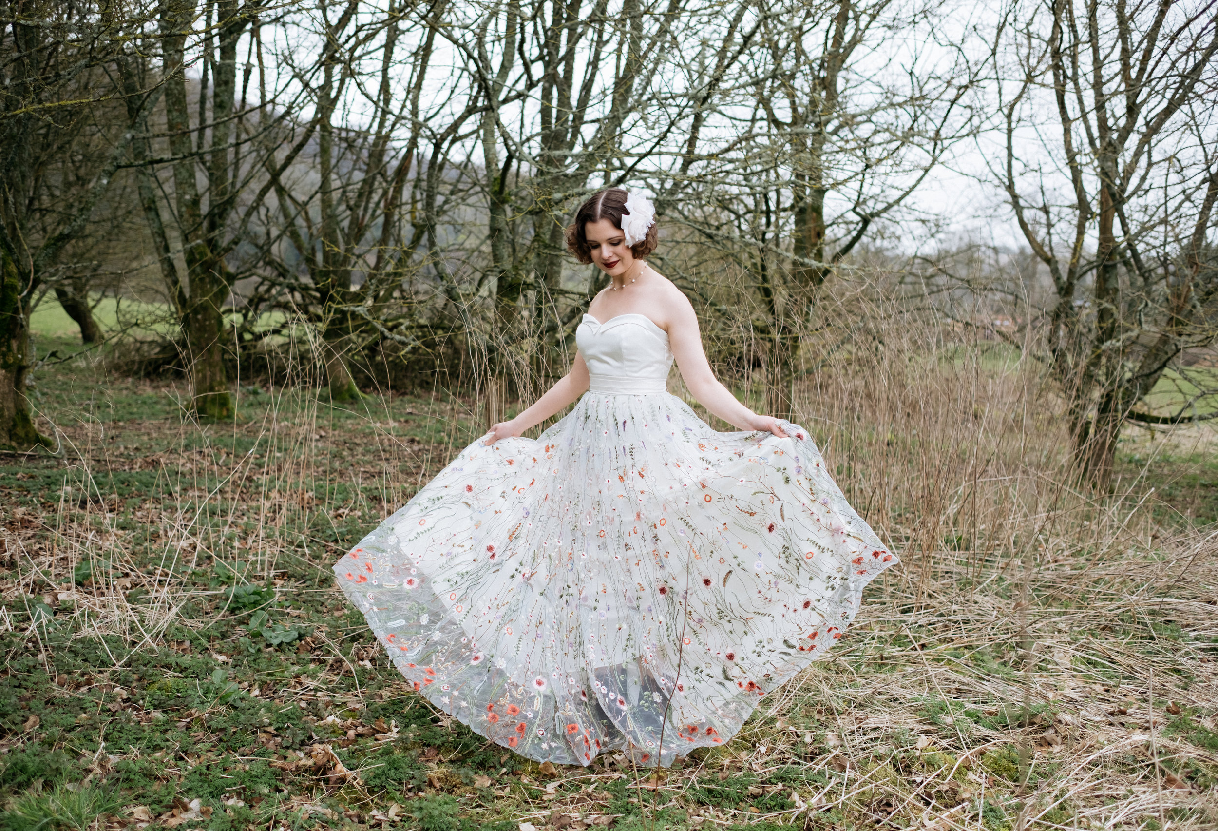 Embroidered alternative wedding dress