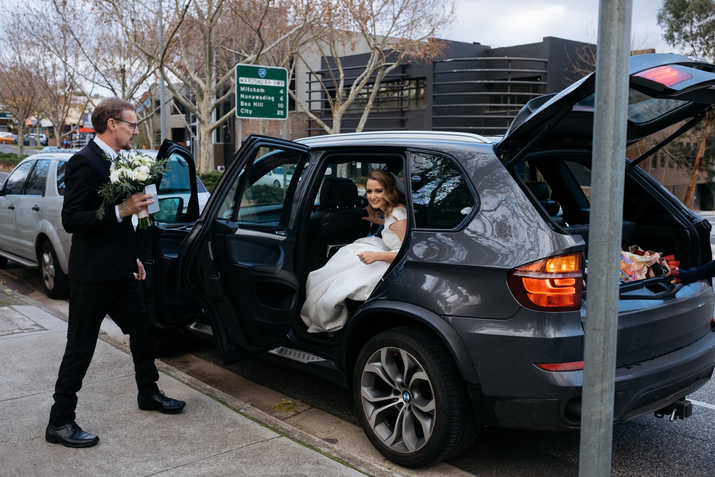 Bride arrives at venue in an uber