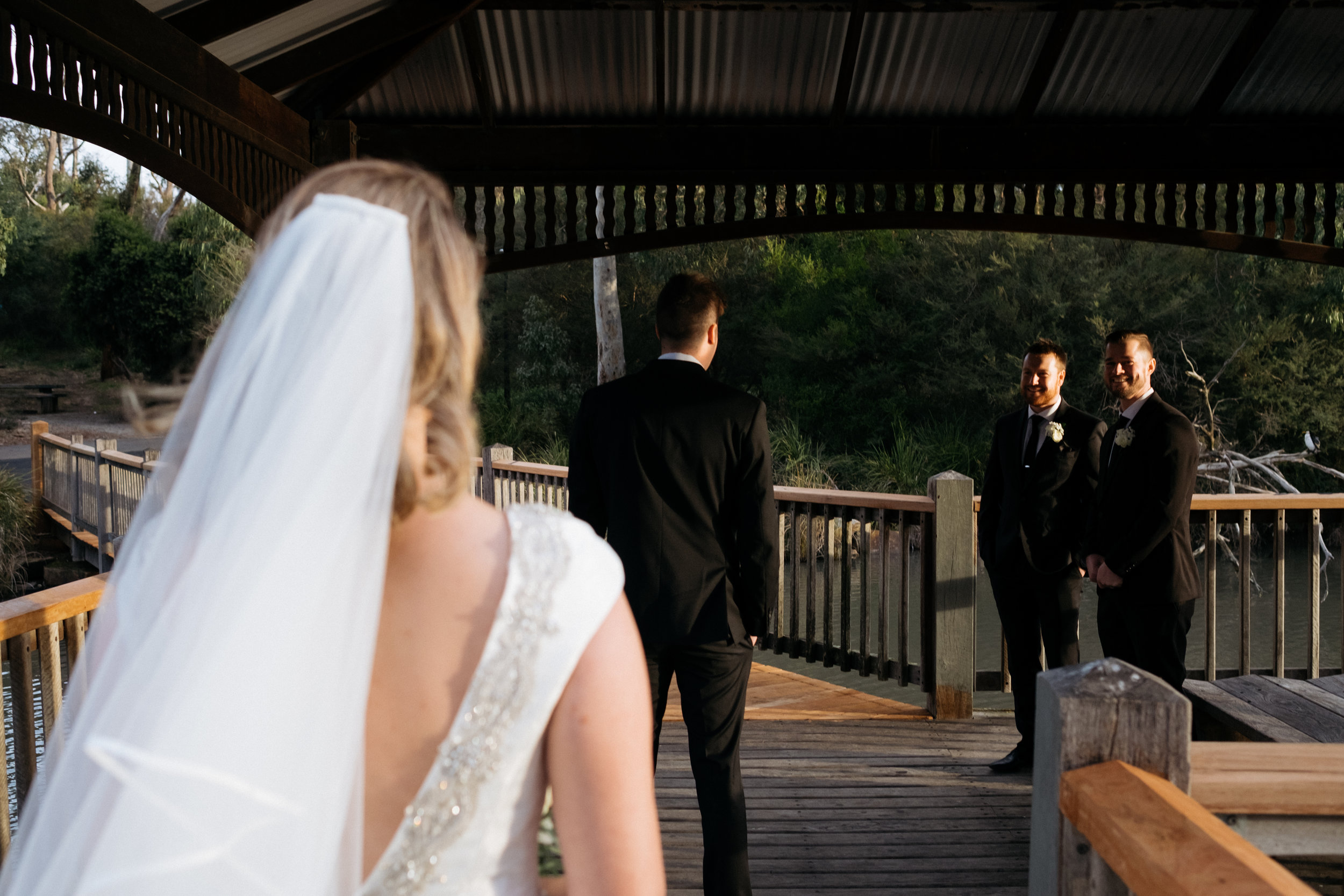 Groom waits for bride at first look