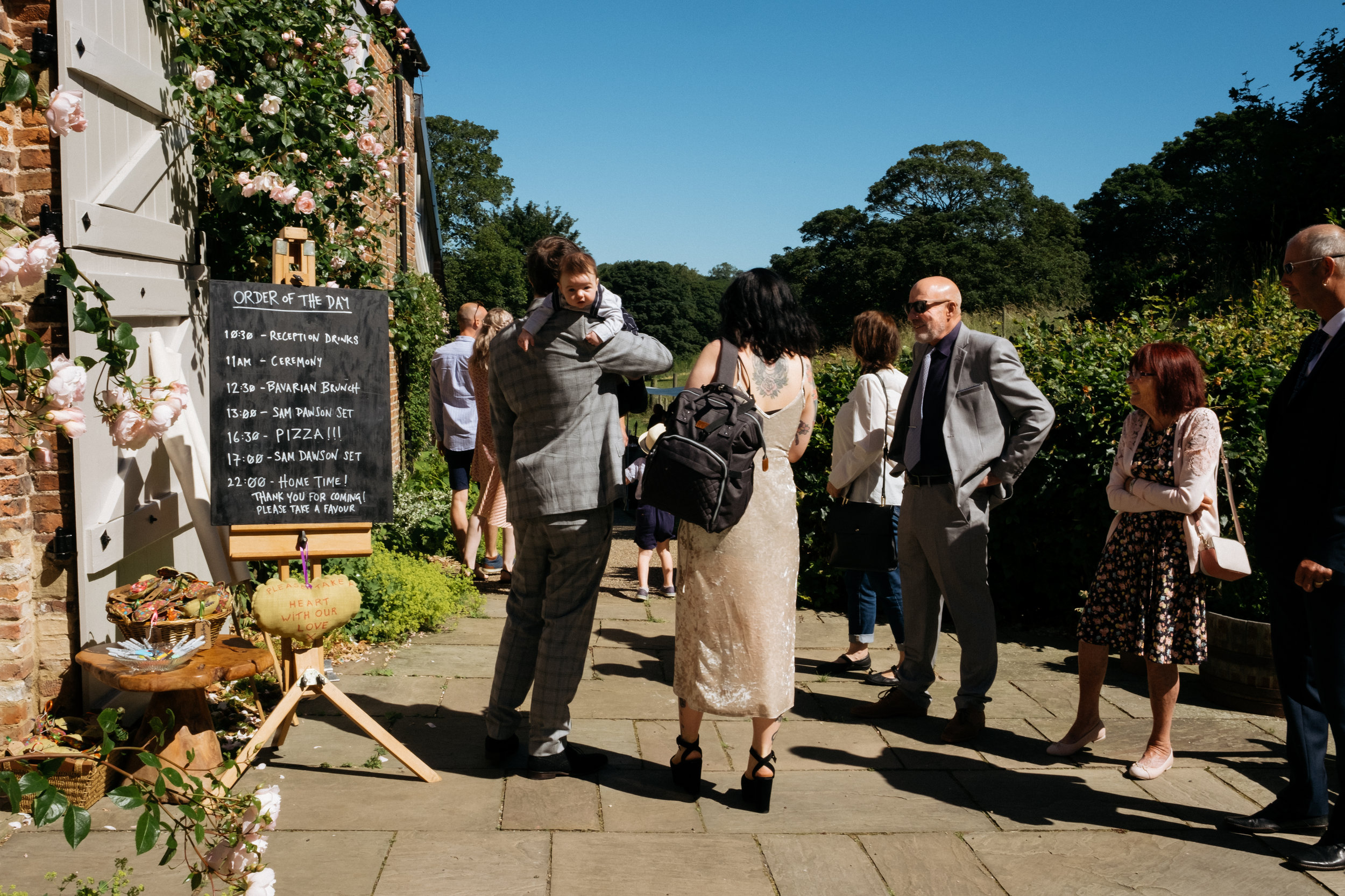Guests arriving for wedding