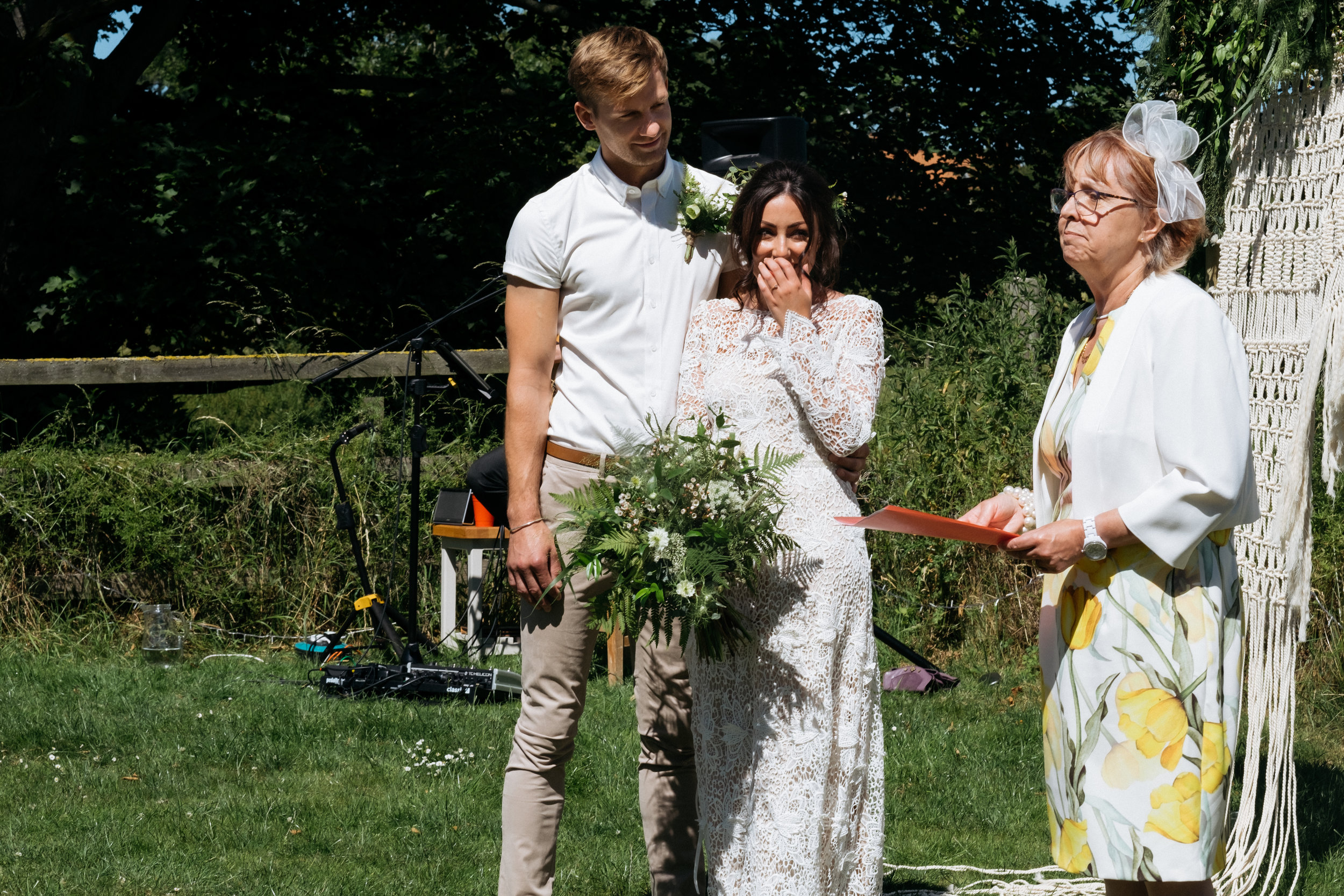 Bride crying during reading