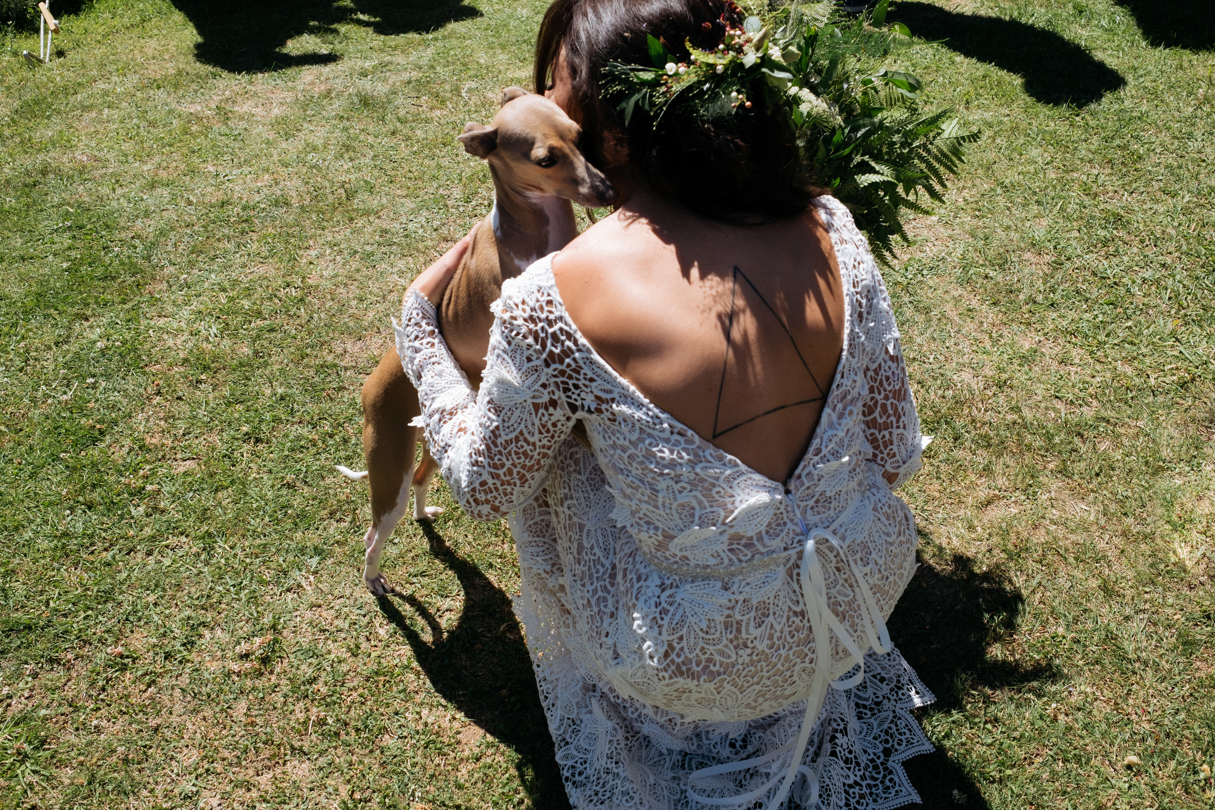 Bride cuddling her Italian greyhound on her wedding day