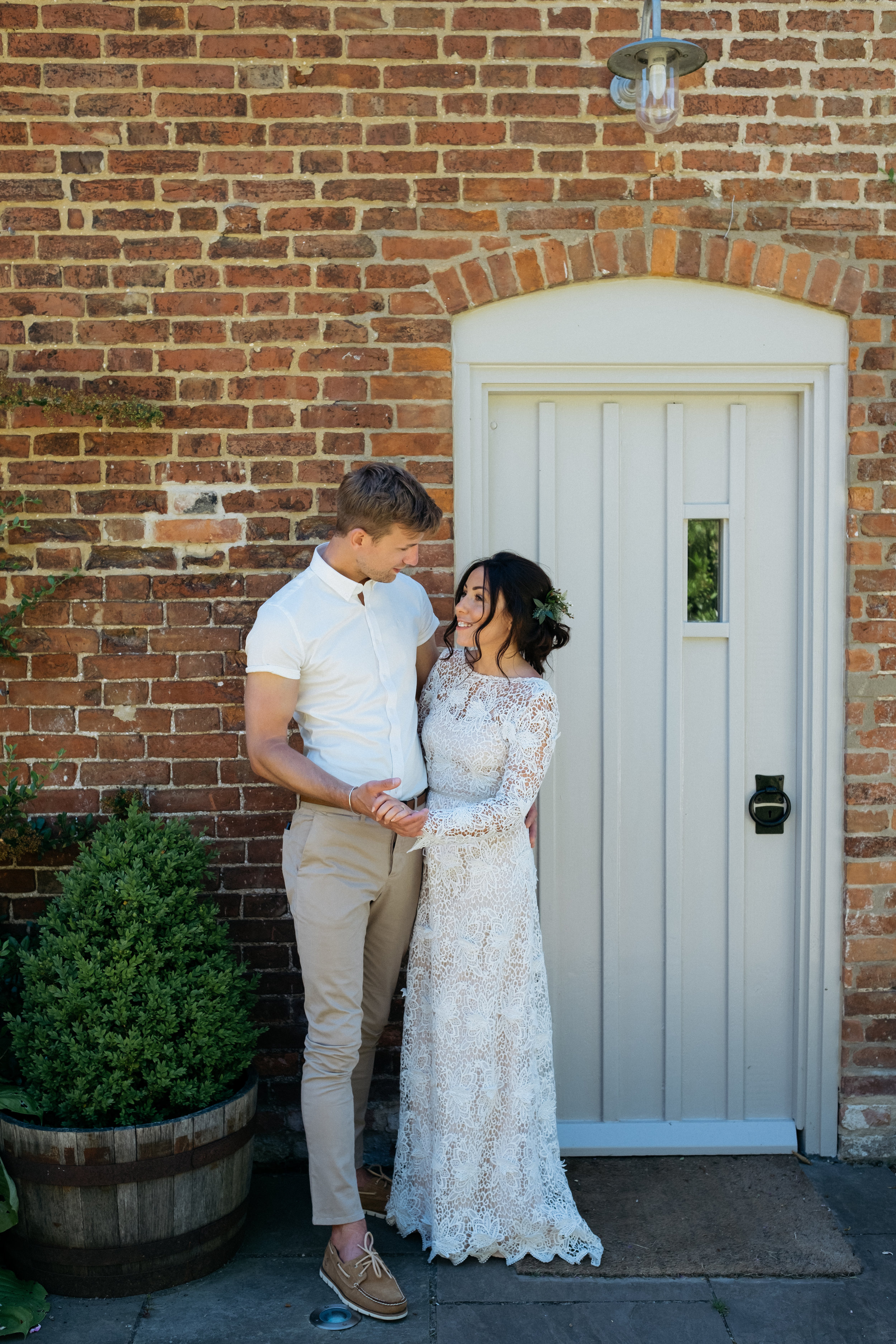 Bride and groom portrait at outdoor wedding in Lincolnshire