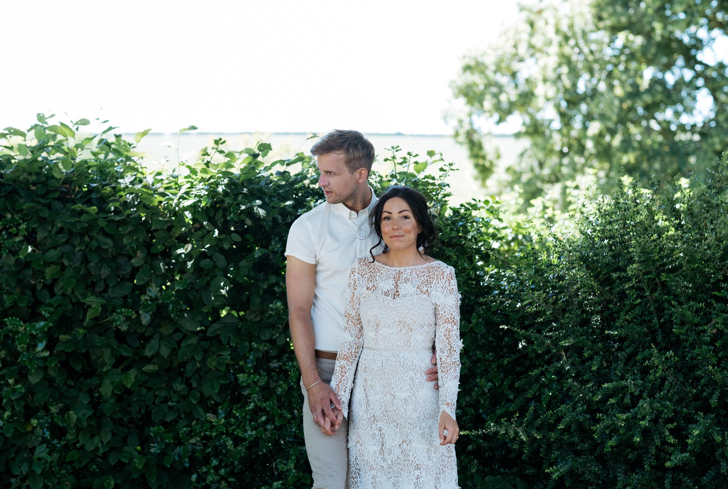 Beautiful alternative wedding couple portrait