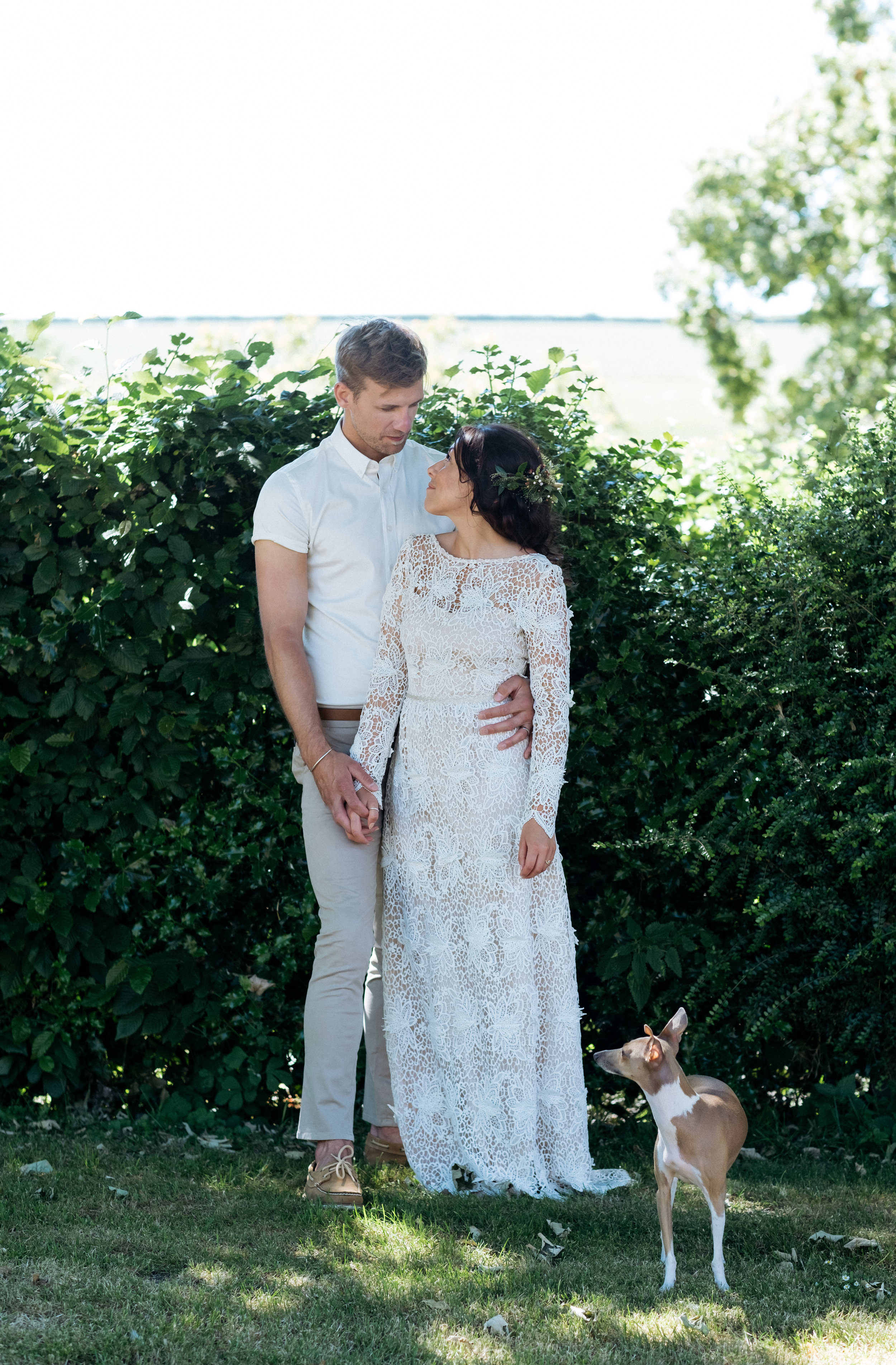 Bride and groom and their Italian greyhound