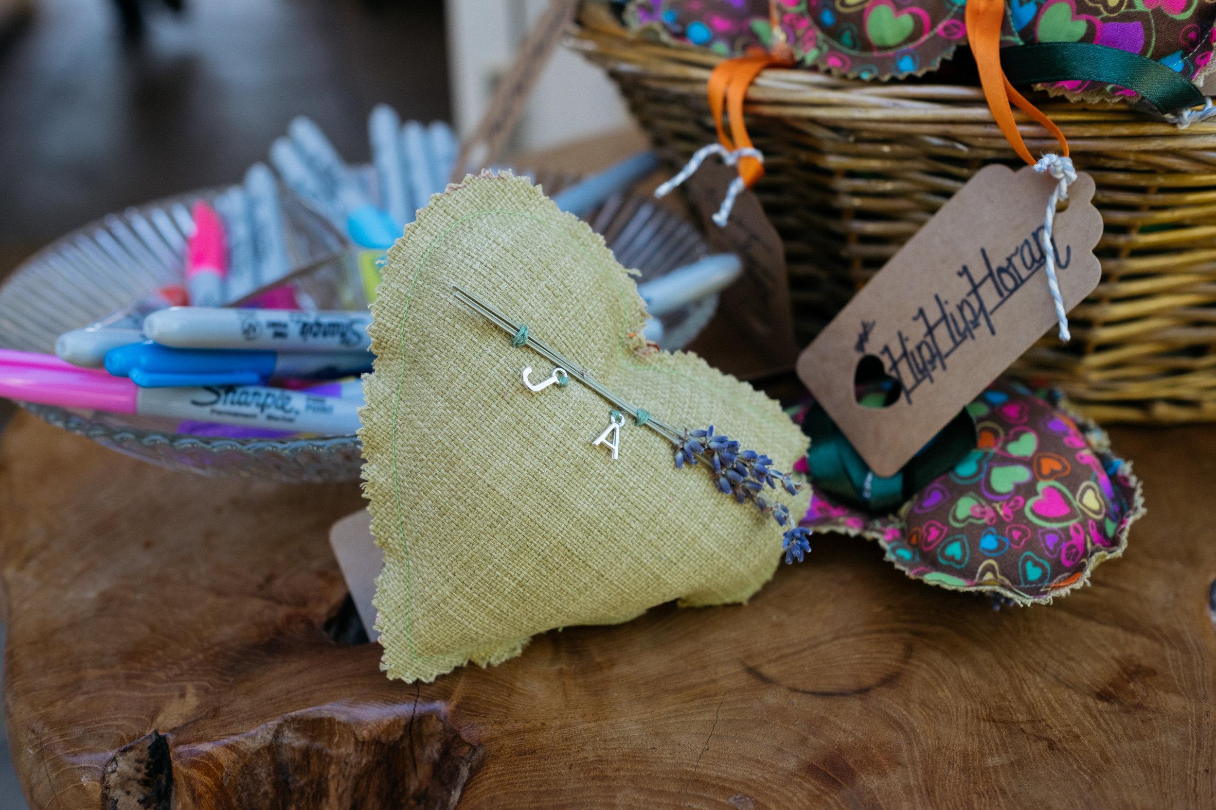 Handmade heart wedding favours