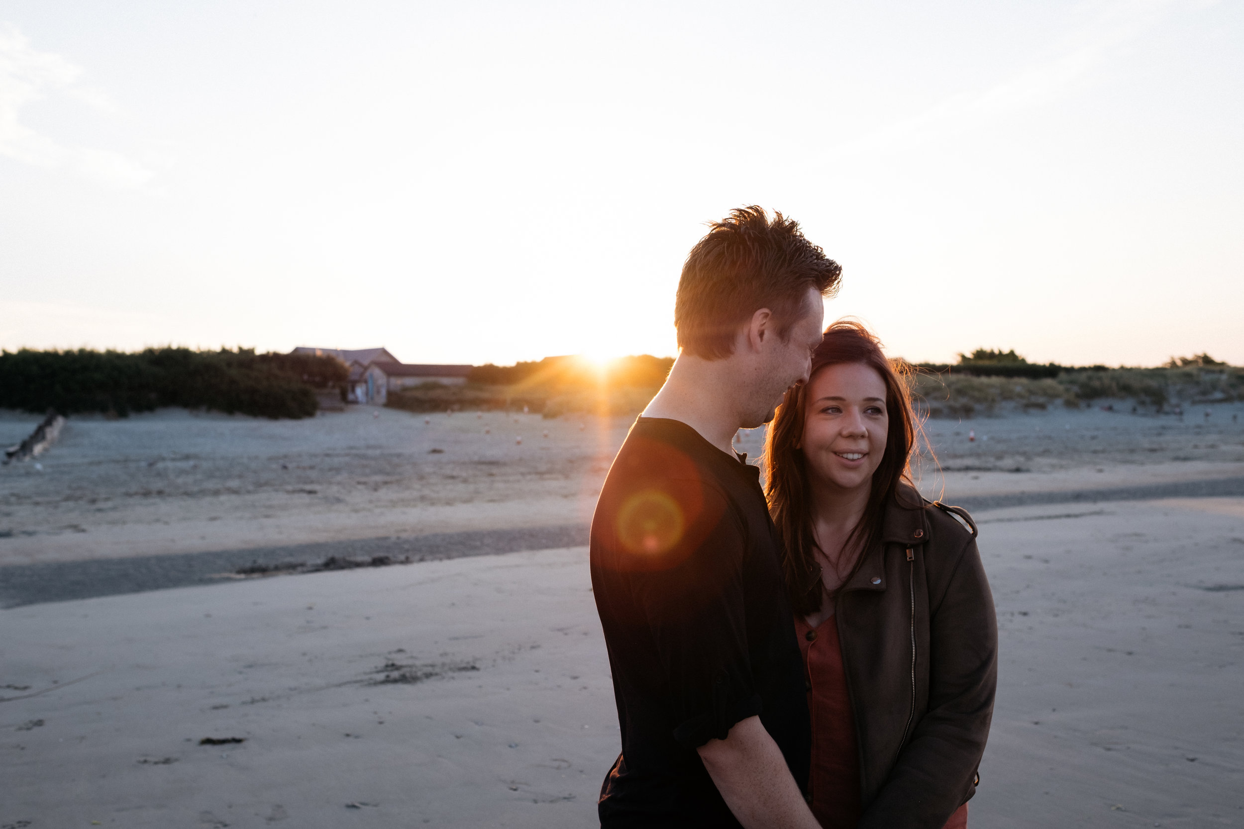 Engagement shoot at West Wittering beach during sunrise