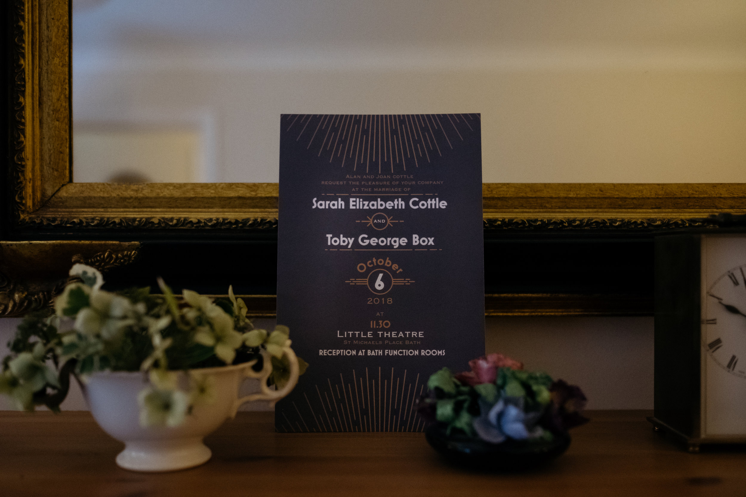 Wedding Invitation for Bath Wedding | Little Theatre wedding in Bath