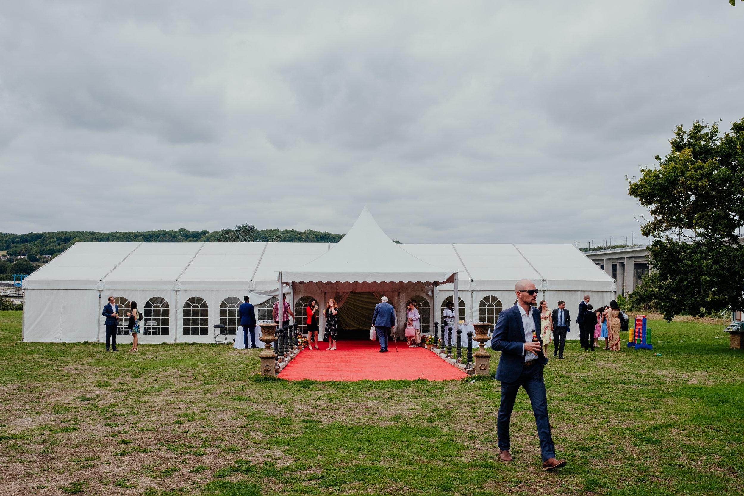 Wedding marquee in field in Kent