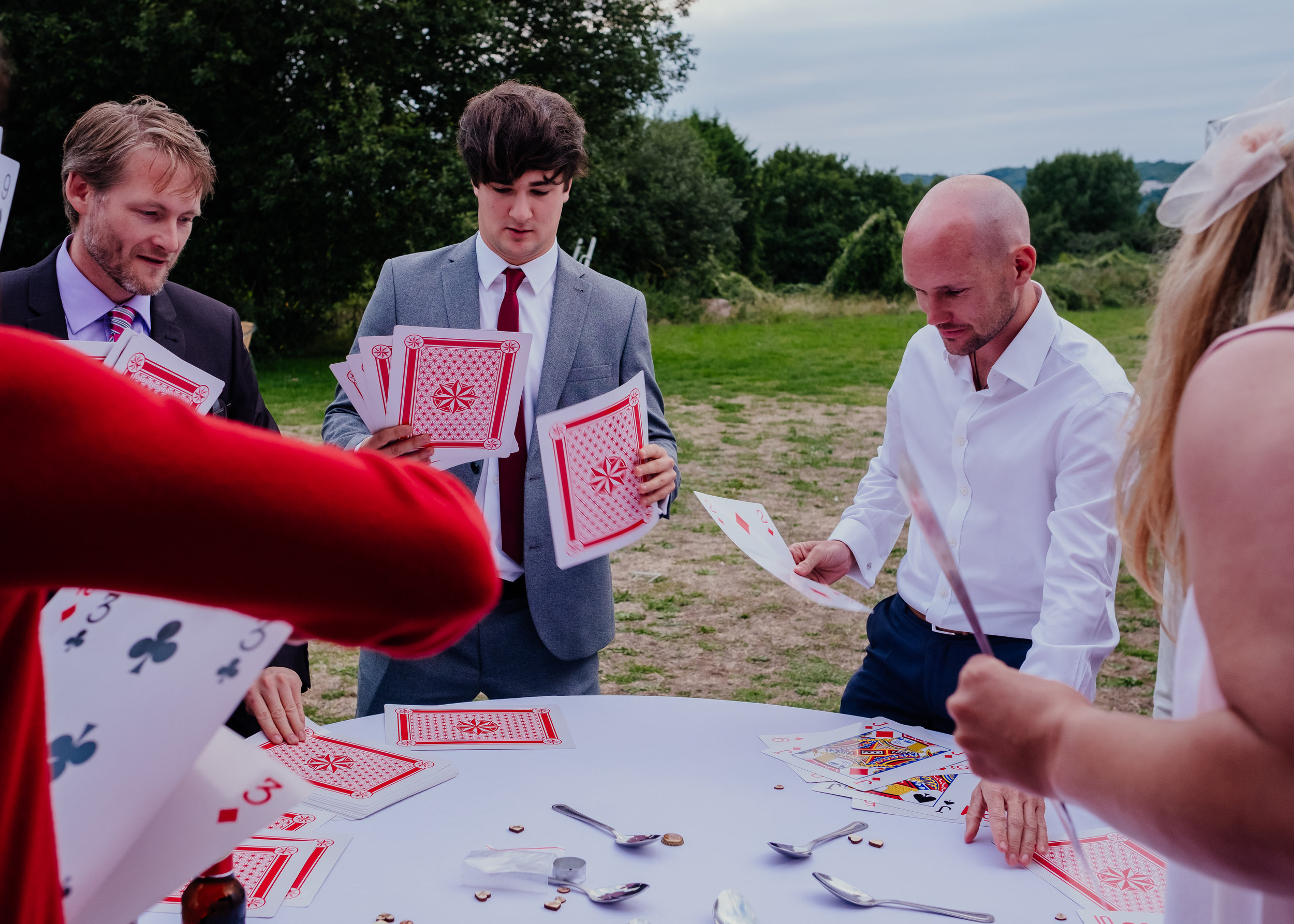 Wedding guests playing massive game of cards