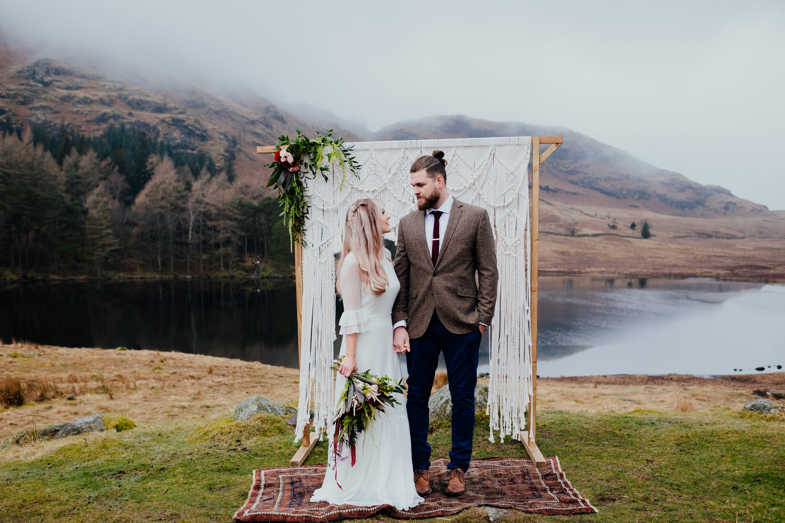 Bohemian bride and groom elope in the Lake District wedding photography