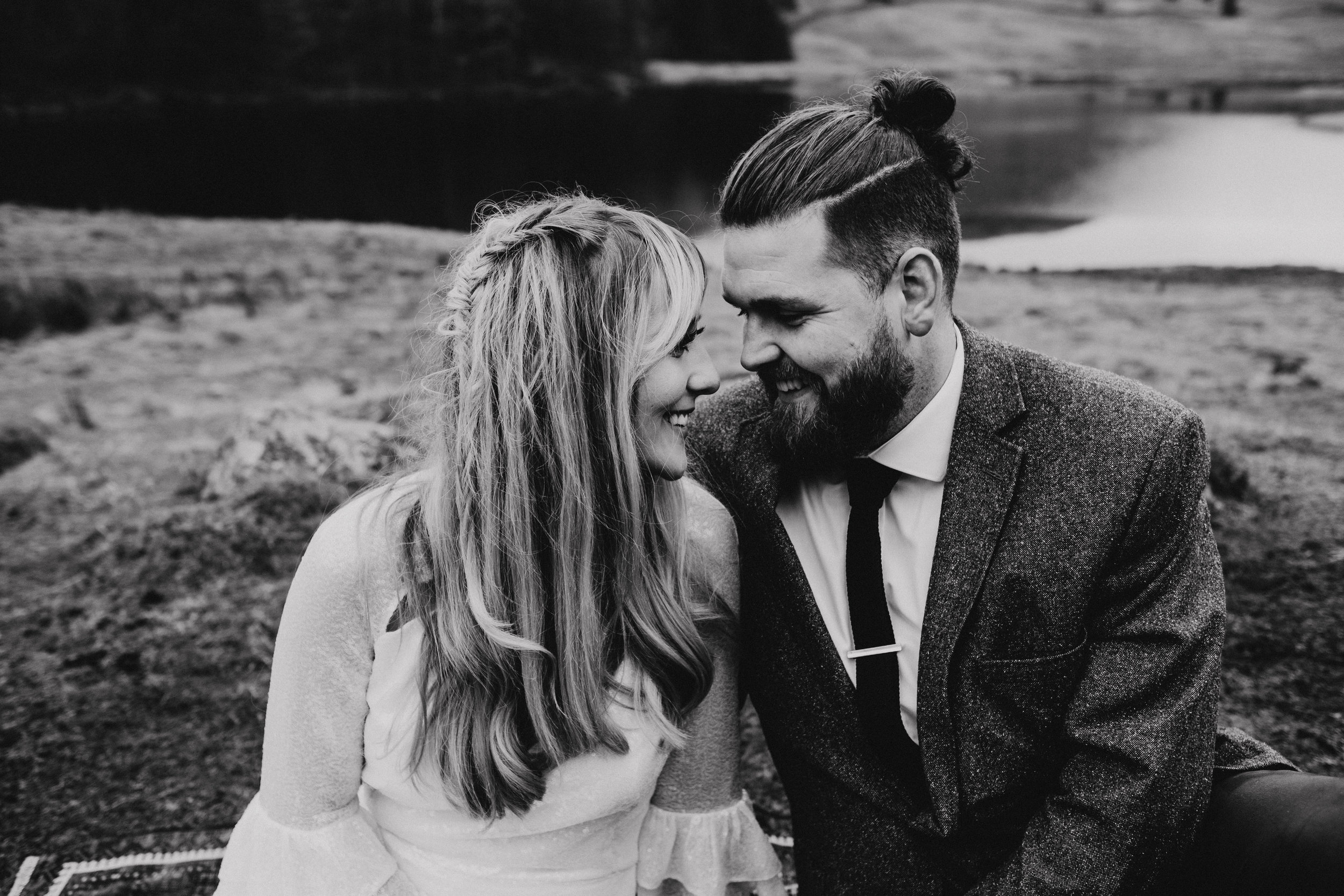 Bride and groom laughing during Lake District elopement in the UK