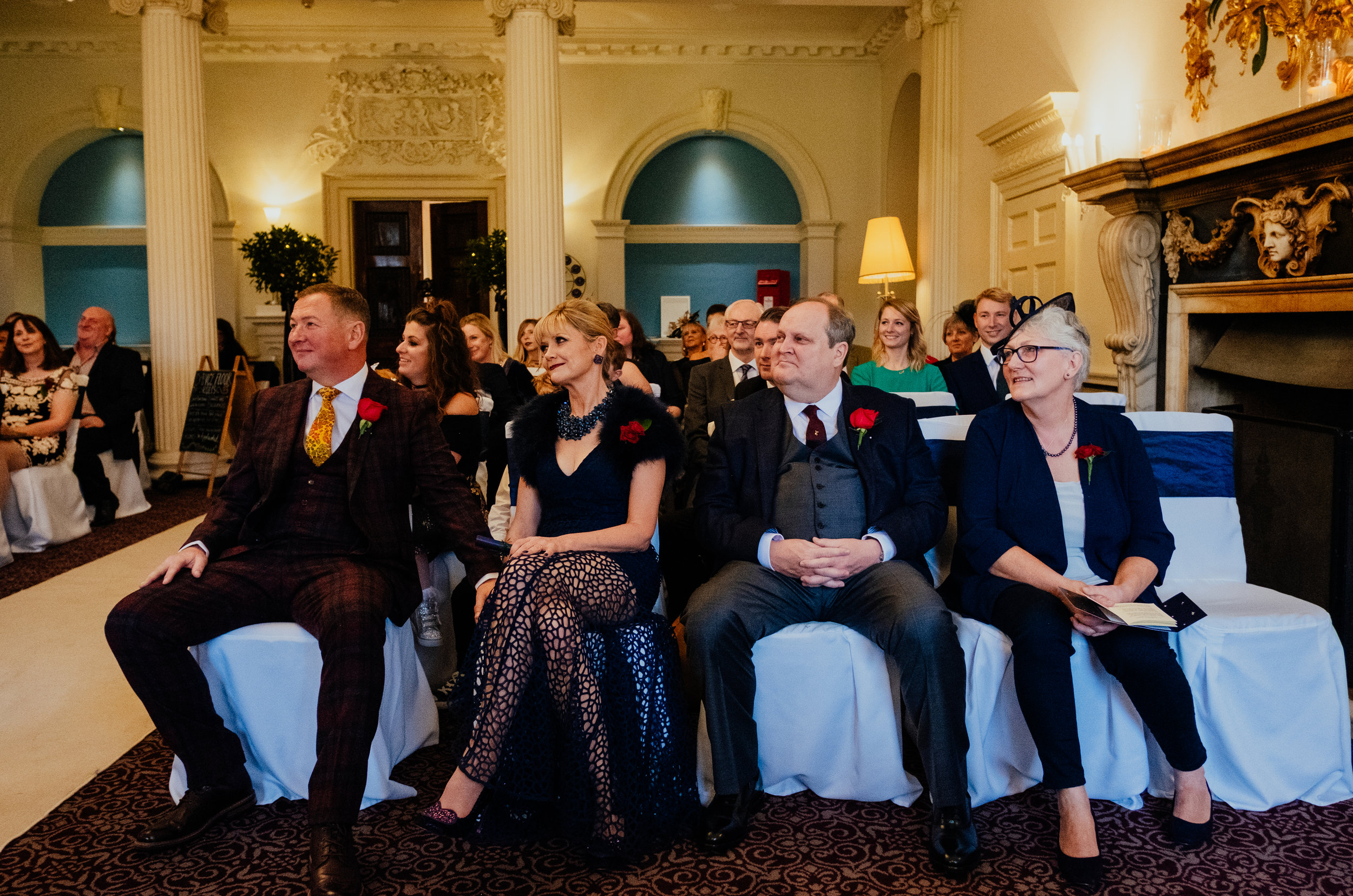 Buxted House Hotel wedding parents of the bride and parents of the groom watch ceremony