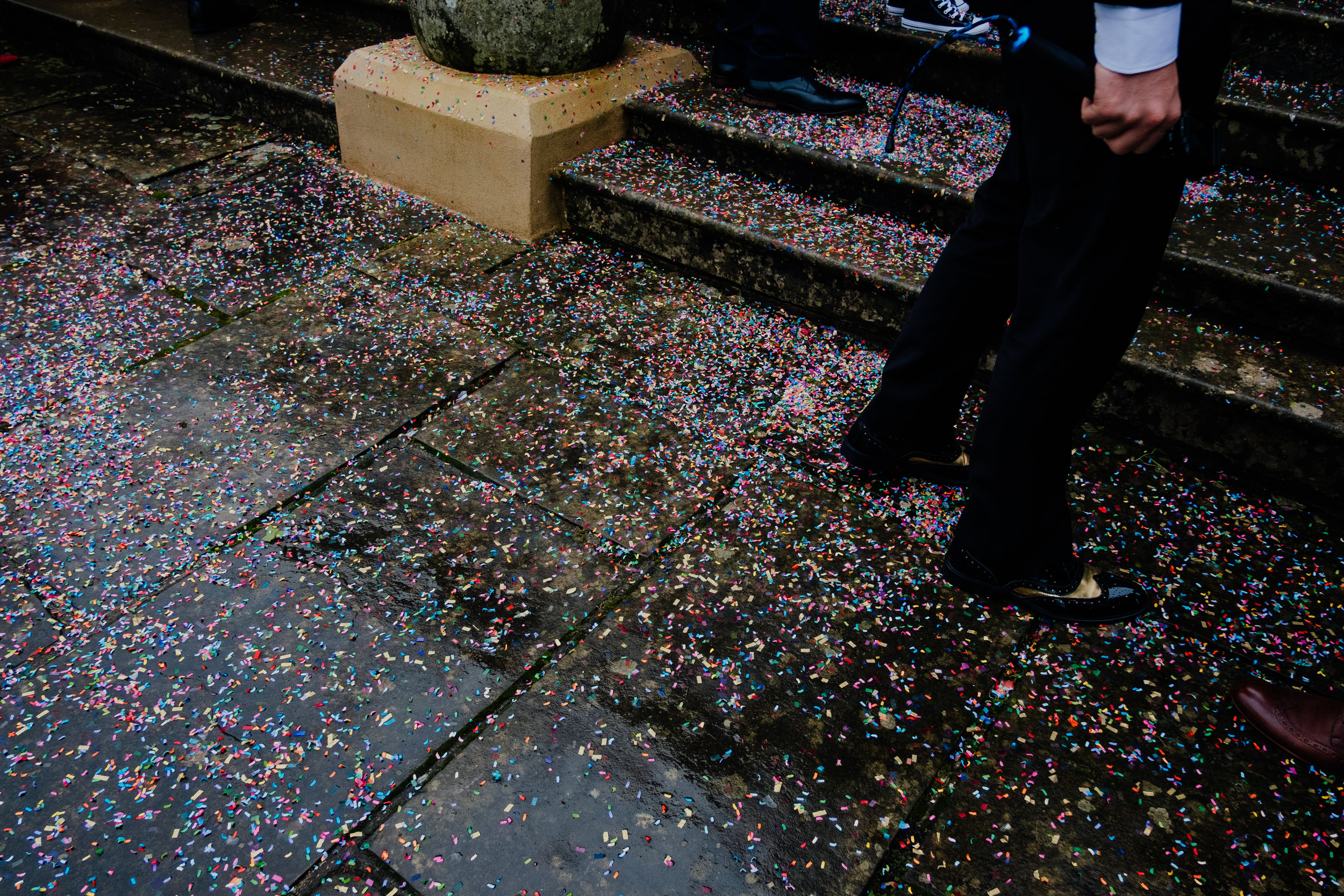 Buxted House Hotel wedding confetti on the ground outside