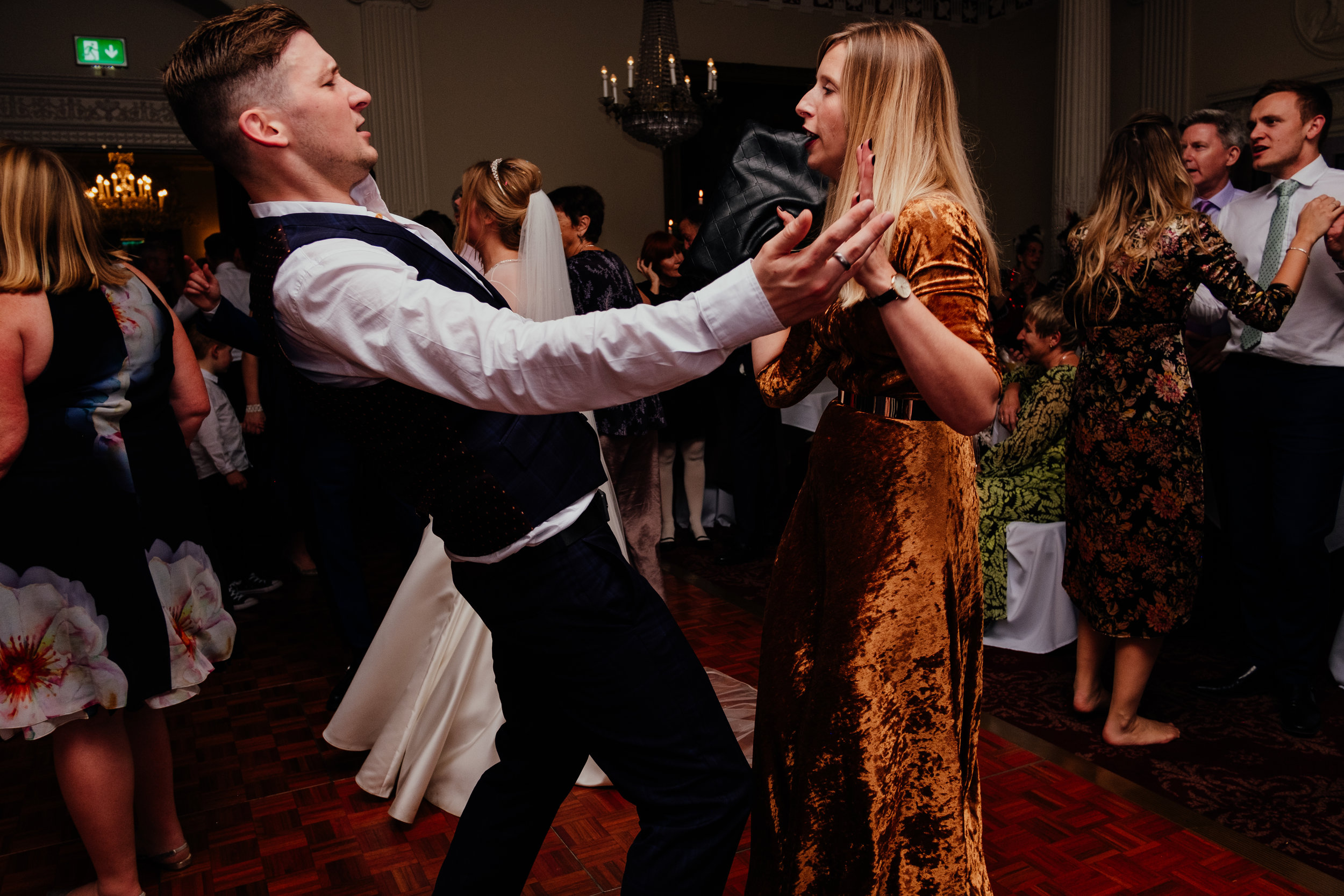 Buxted House Hotel wedding guests dancing