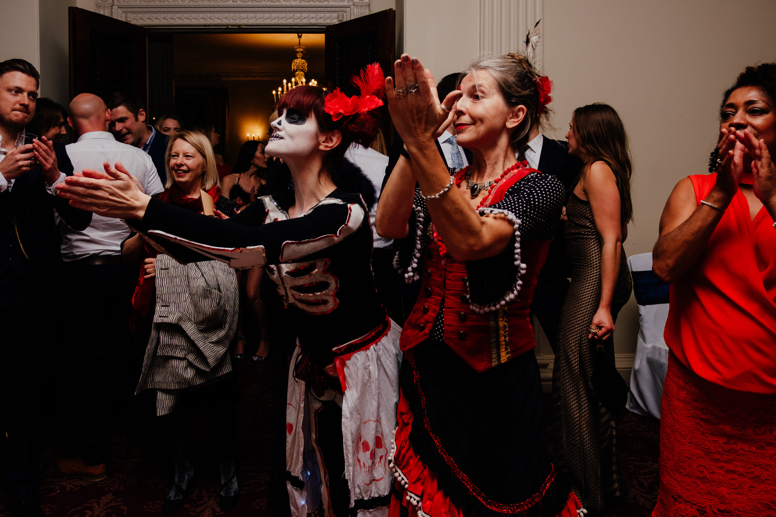 Day of the dead dancers at wedding