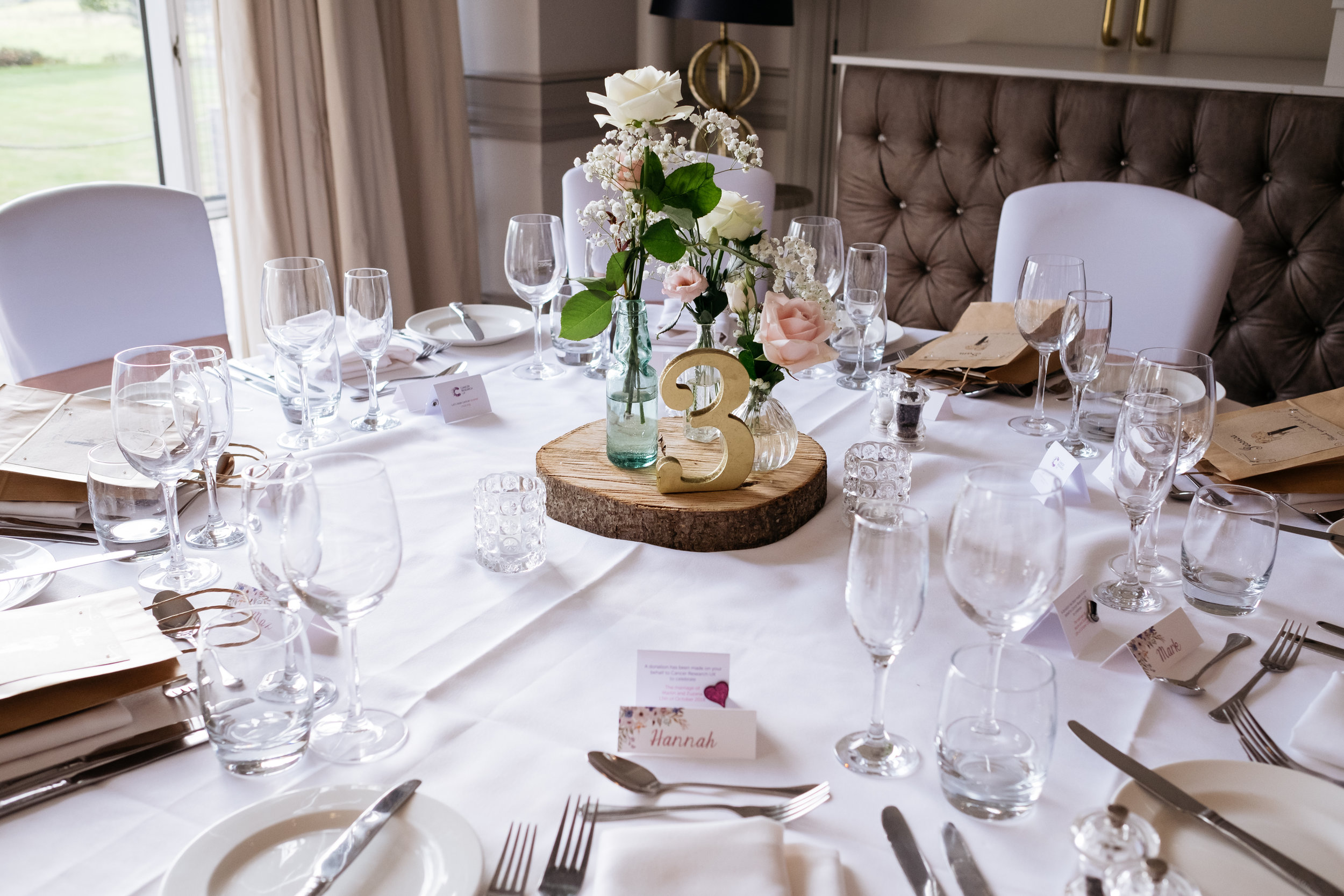 Table setting at Mercure Newbury Elcot Park Hotel wedding
