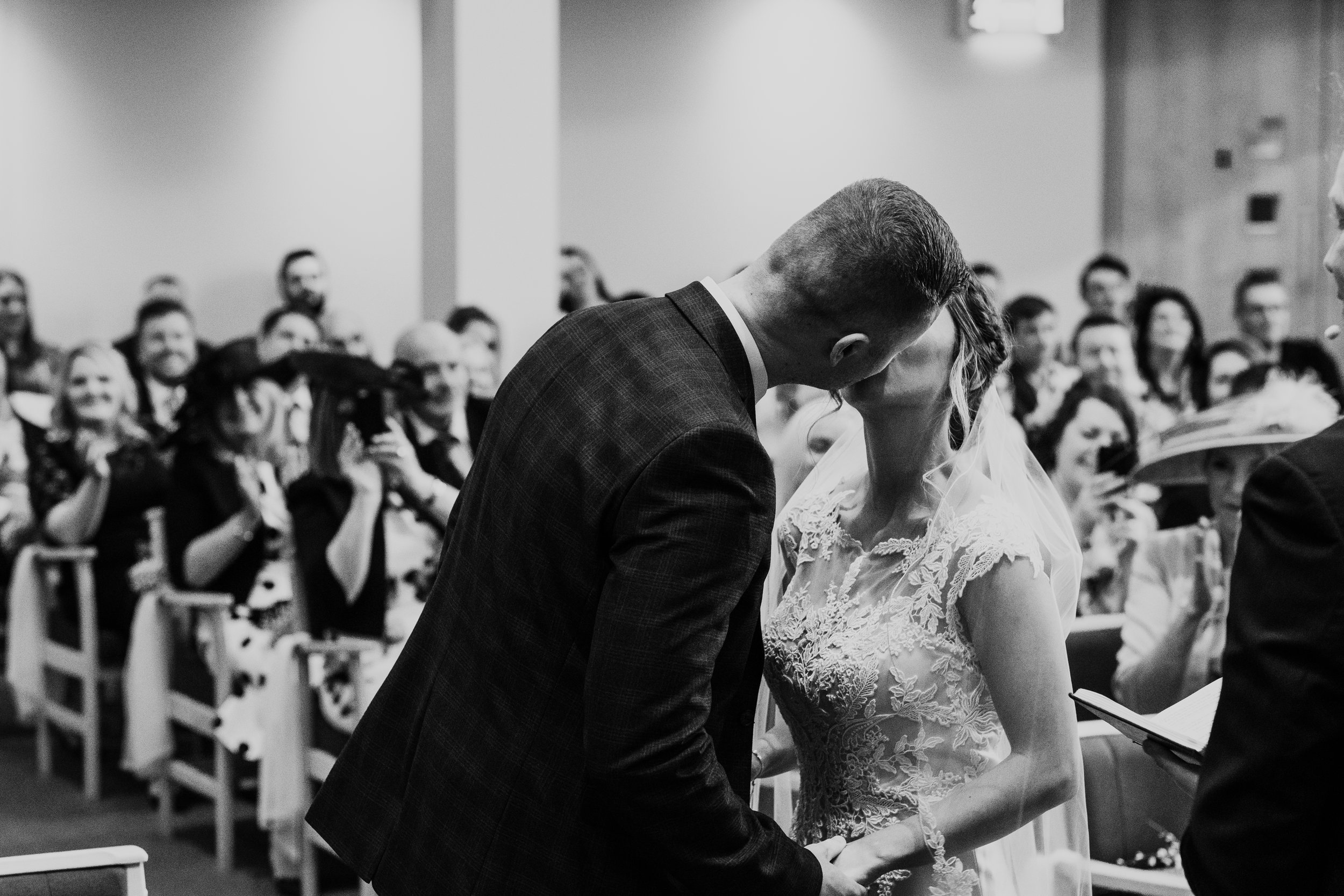 Bride and Groom have first kiss after exchanging vows
