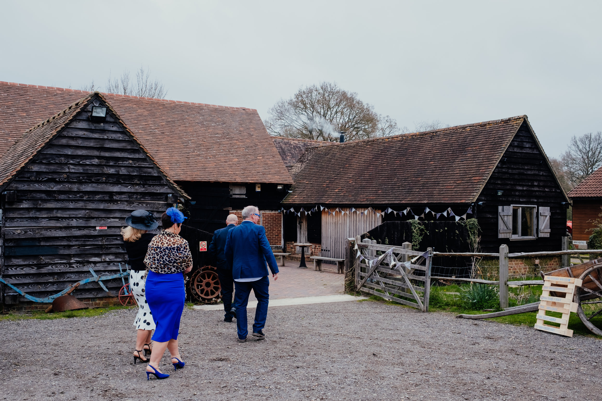 Wedding guests arriving at Gildings Barn