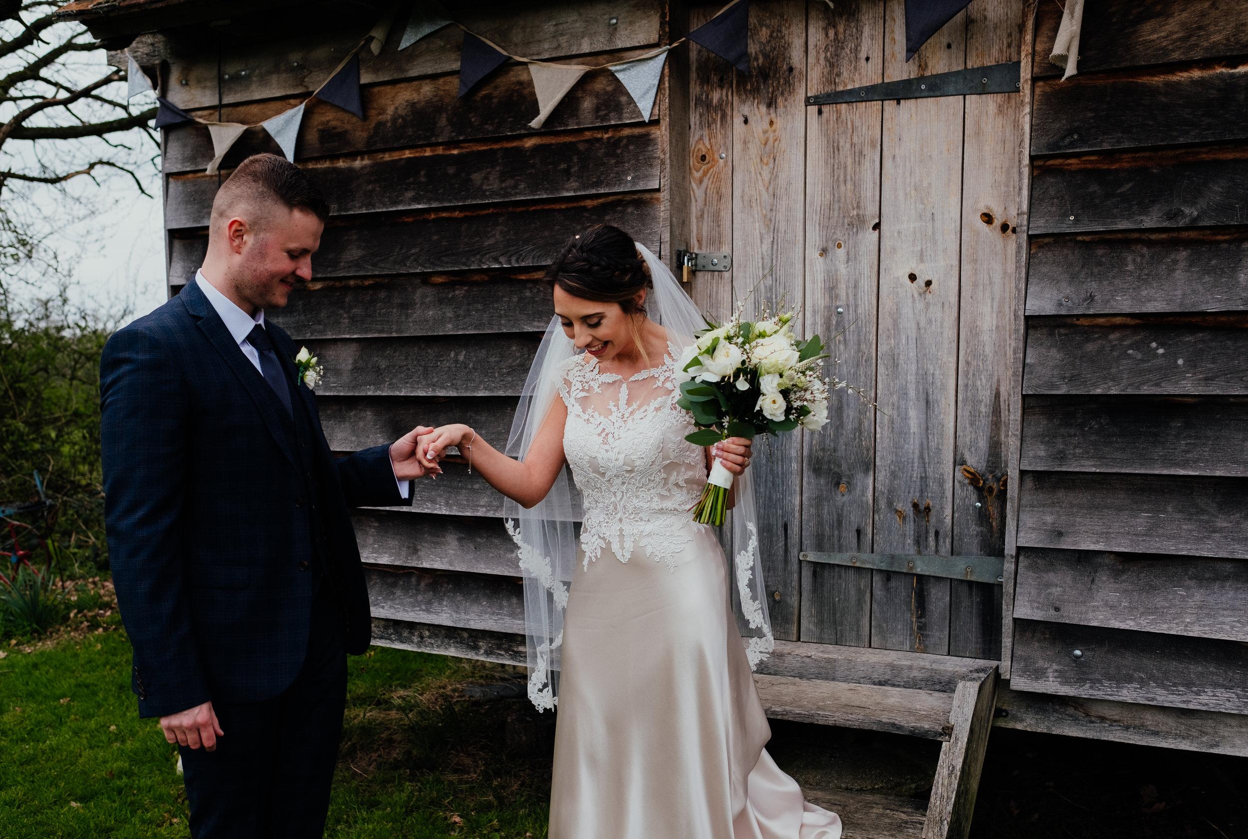 Bride and Groom wedding photography at Gildings Barn