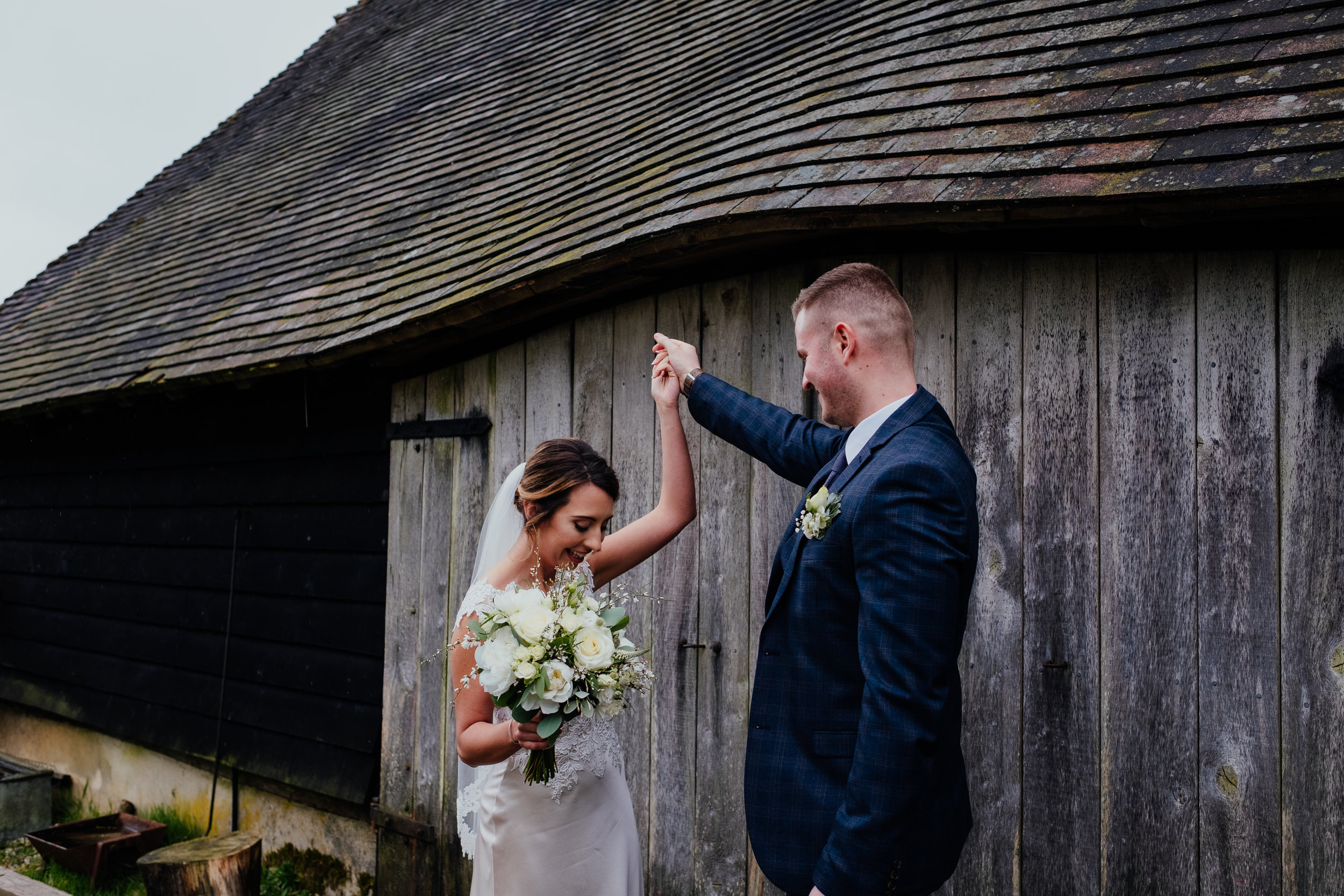 Bride and Groom dancing outside Gildings Barn