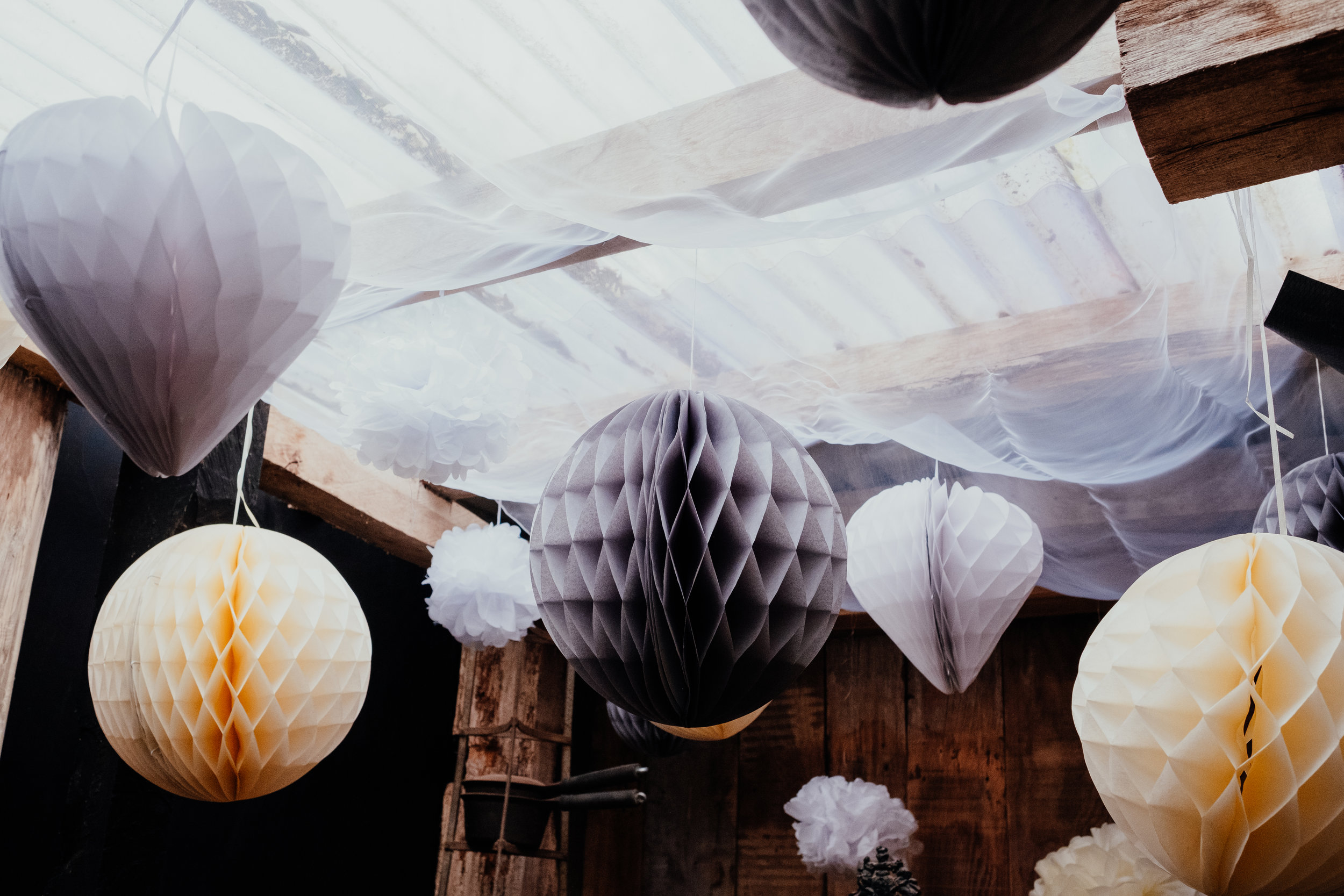 Beautiful paper lanterns wedding decoration at Gildings Barn