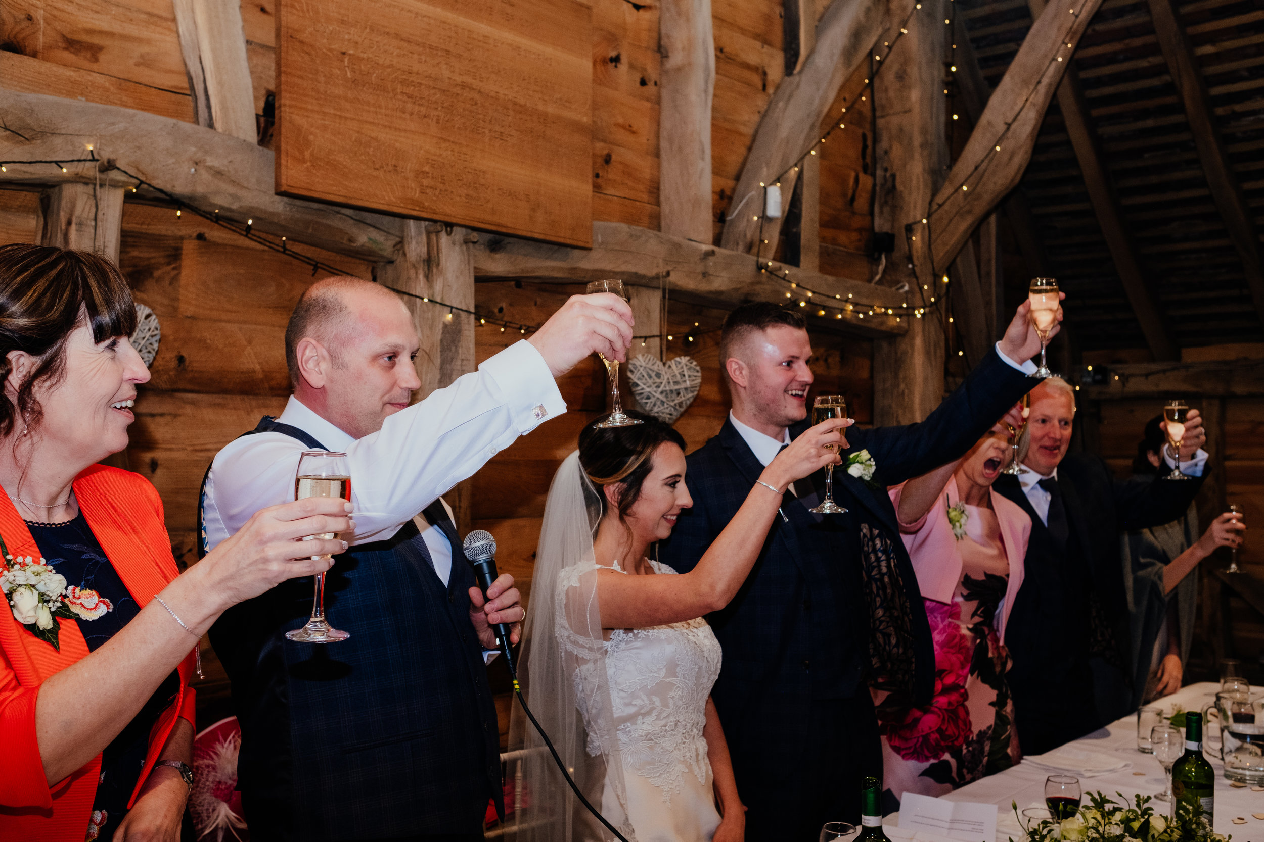 Guests raise a toast at wedding