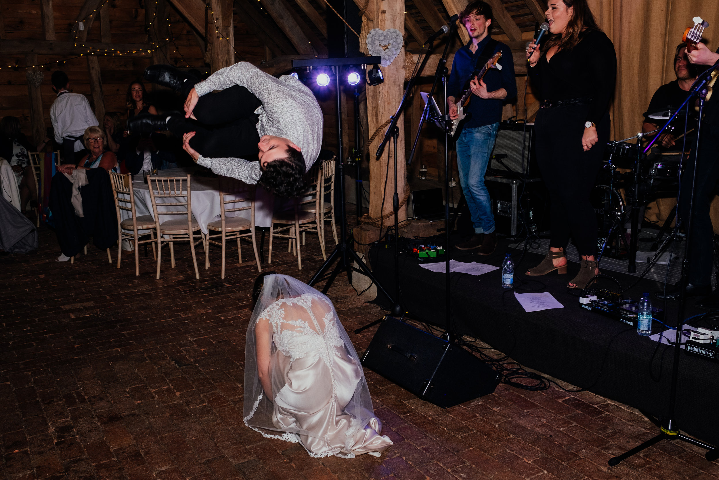 Parkour over the bride at Gildings Barn wedding