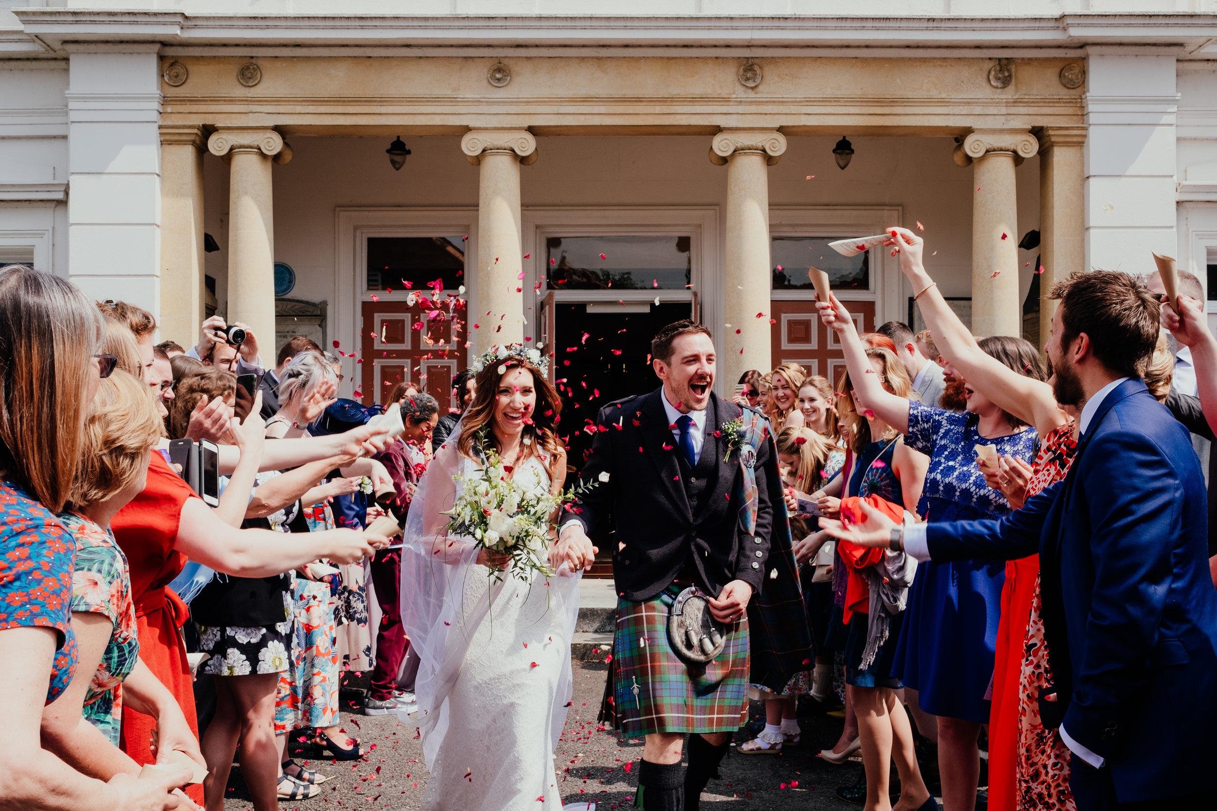 Confetti outside United Reformed Church Maldon Essex wedding photography