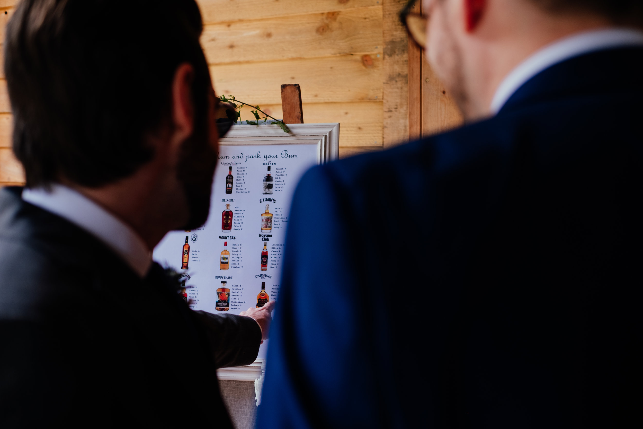 Wedding guests look at rustic table plan