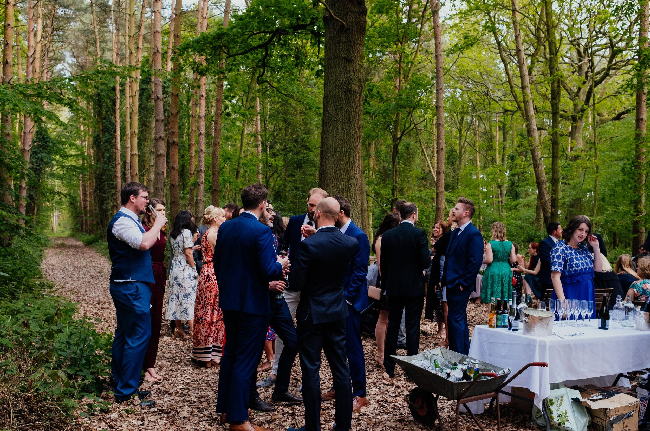 Outside drinks reception at Captains Wood Barn