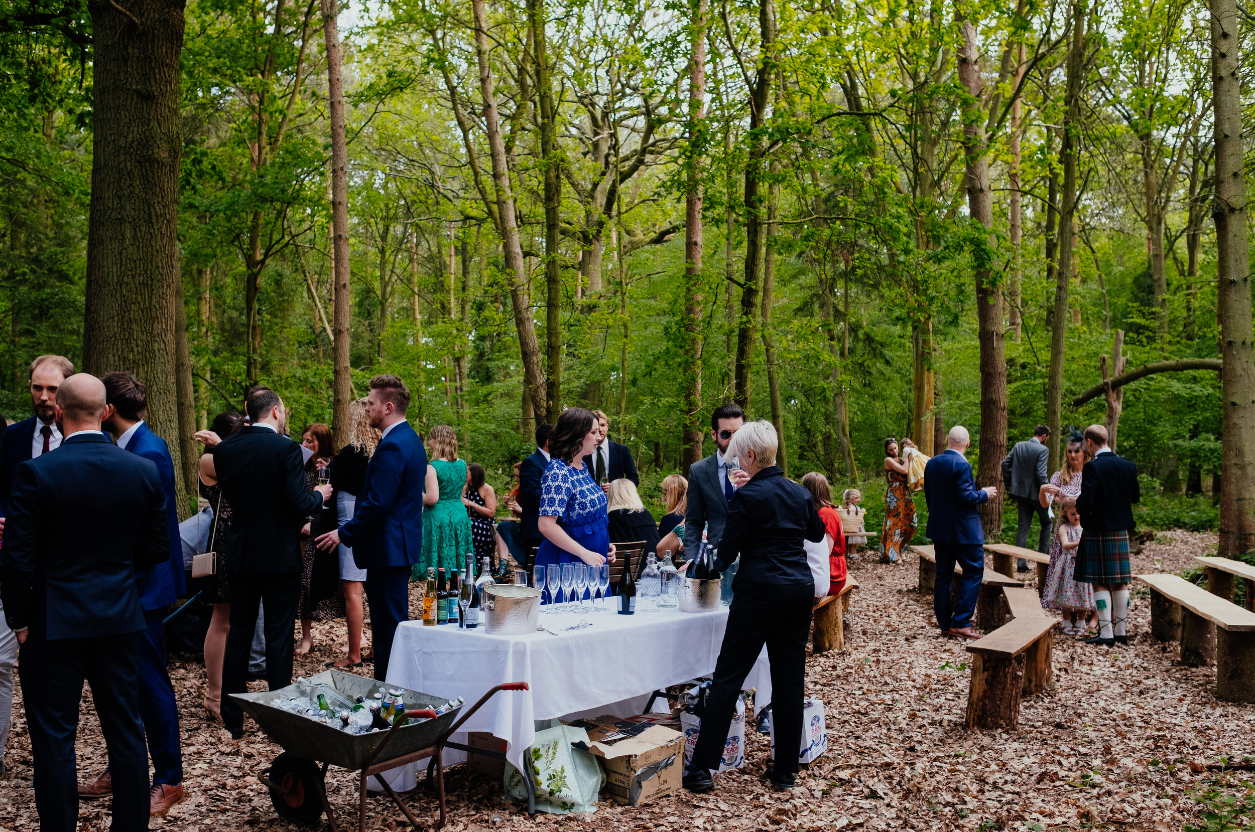Drinks reception outside Captains Wood Barn wedding photography