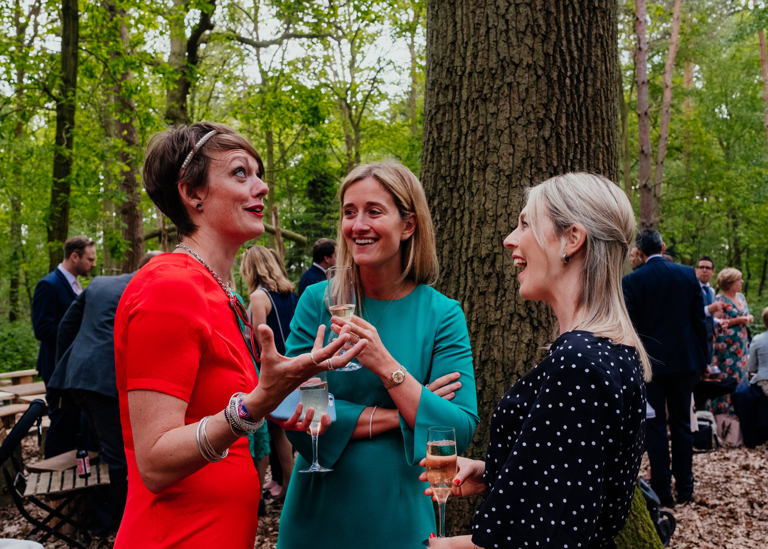 Wedding guests at outdoor drinks reception at Captains Wood Barn