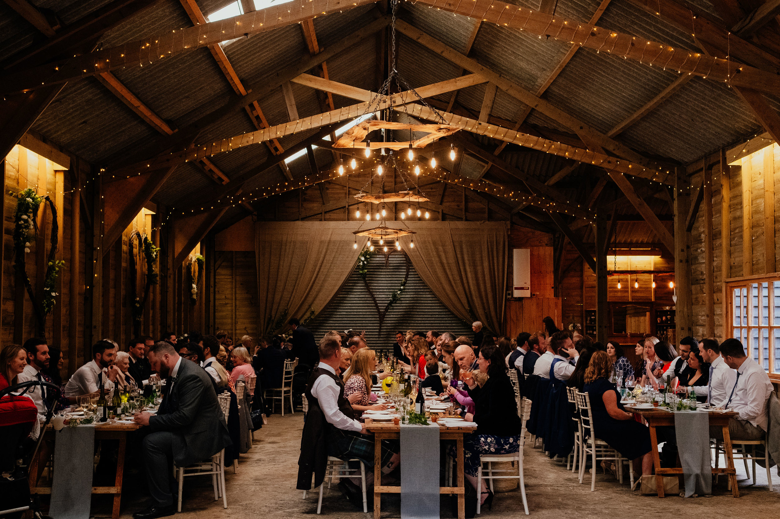 Wedding reception at Captains Wood Barn