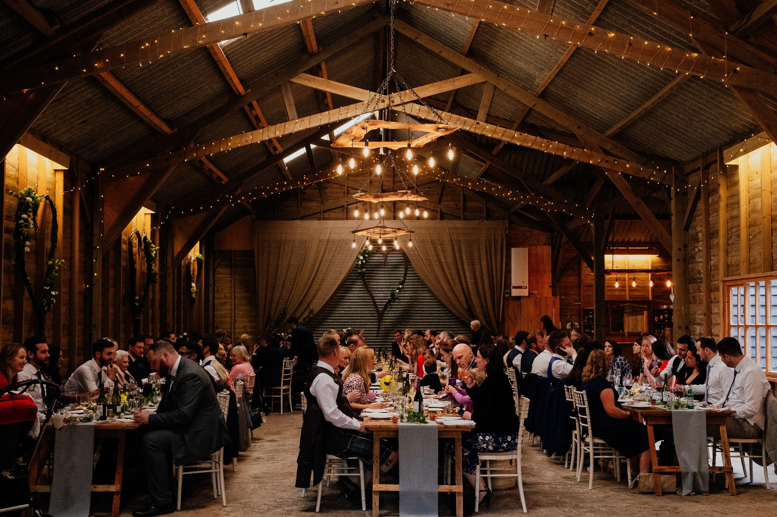Wedding reception at Captains Wood Barn