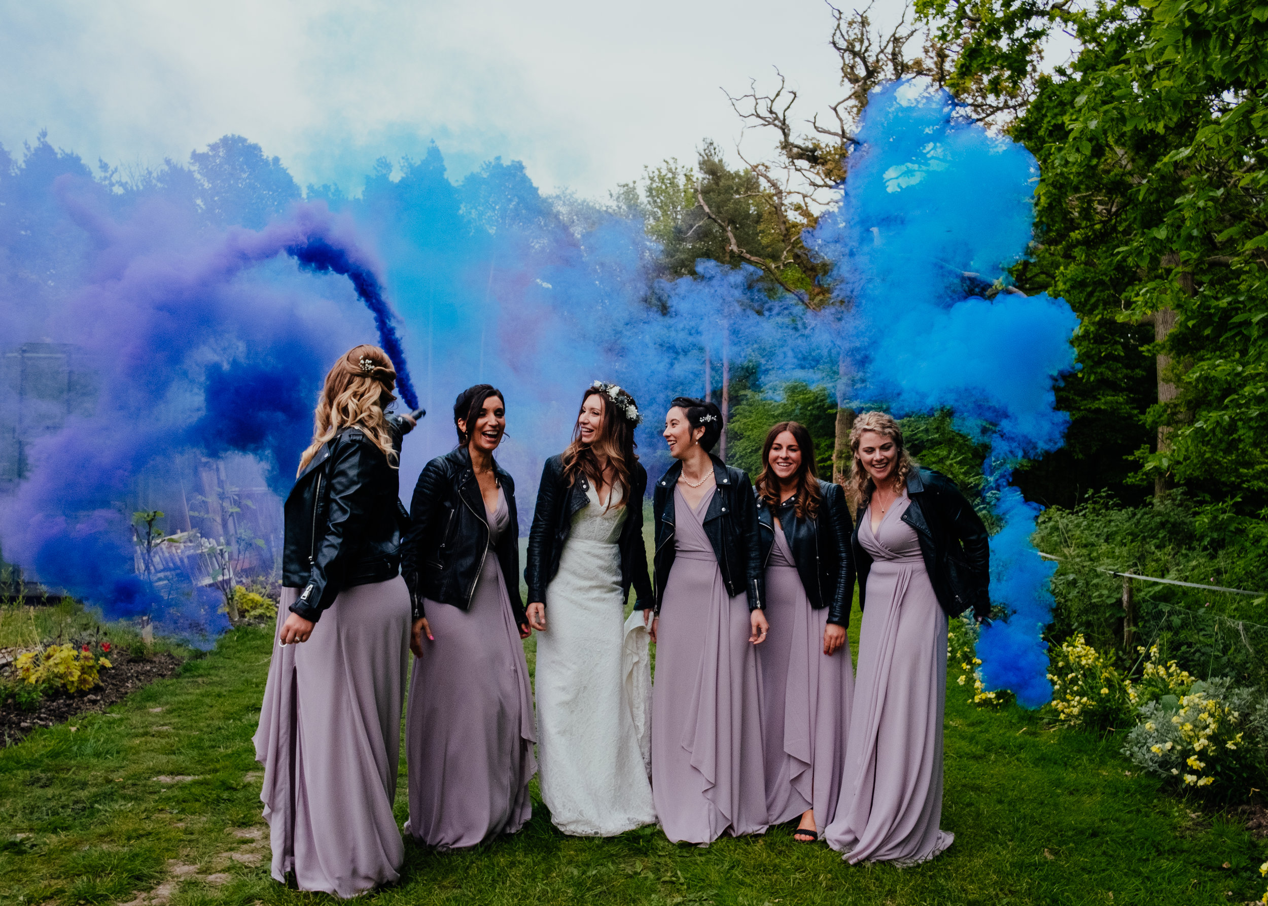 Coloured smoke grenades Captains Wood Barn wedding photography