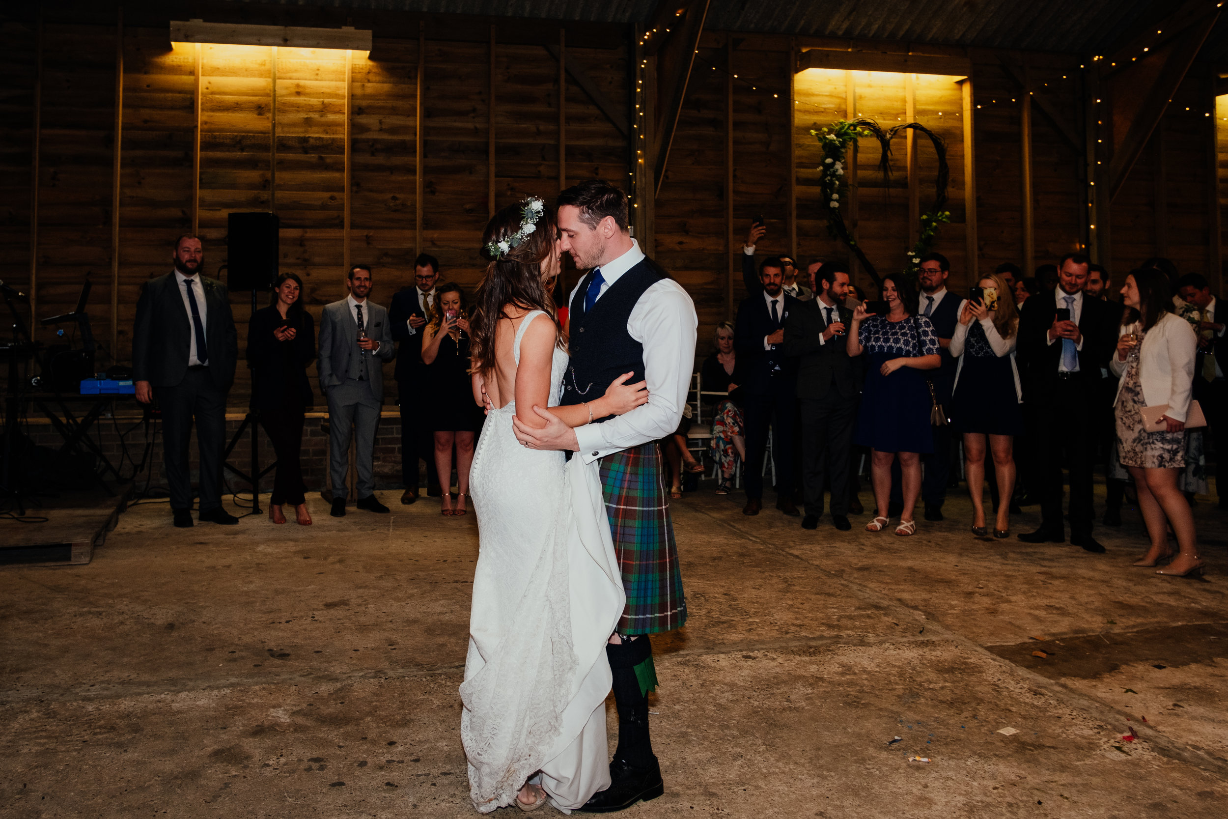 Bride and Groom first dance at Captains Wood Barn wedding