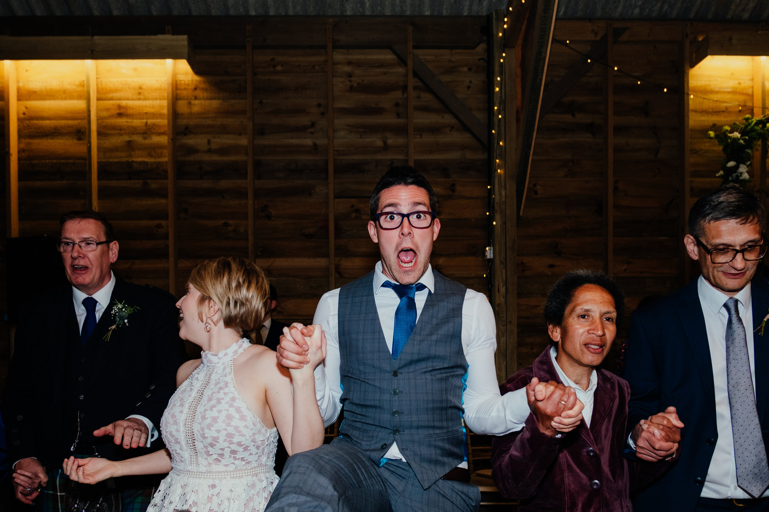 Ceilidh Captains Wood Barn wedding