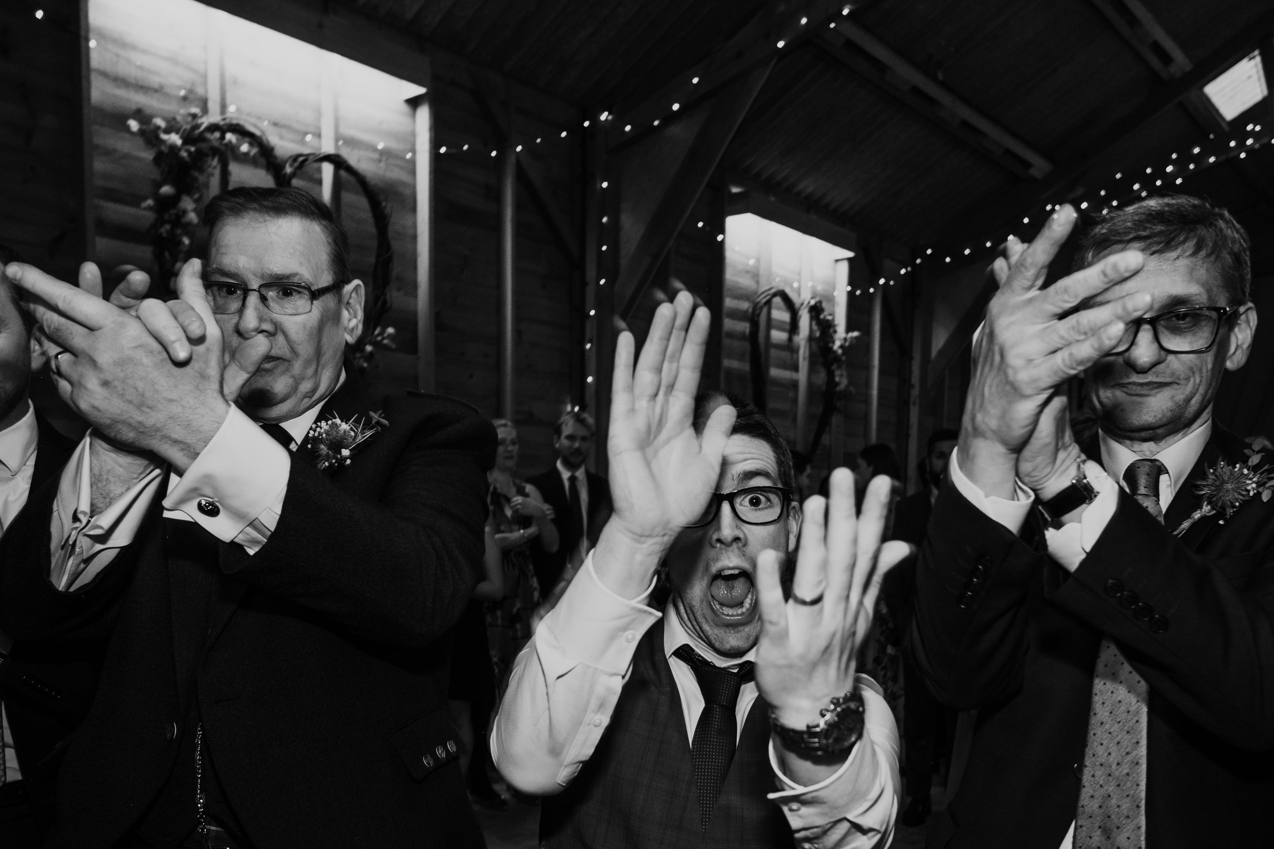 Ceilidh wedding dance at Captains Wood Barn