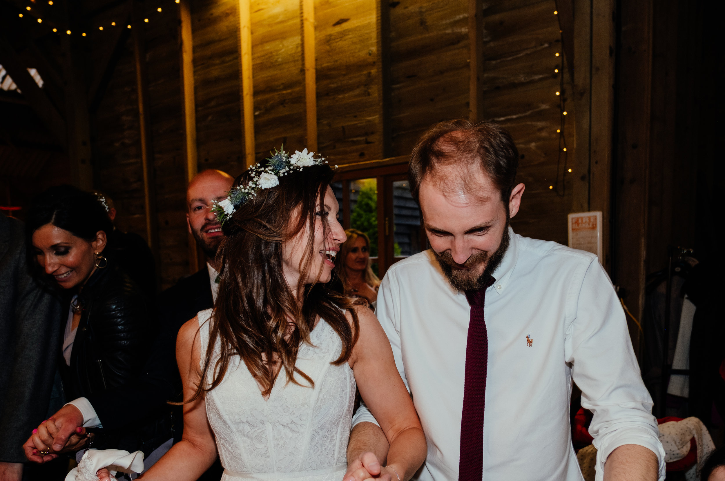 Bride dances to Ceilidh at Captains Wood Barn wedding