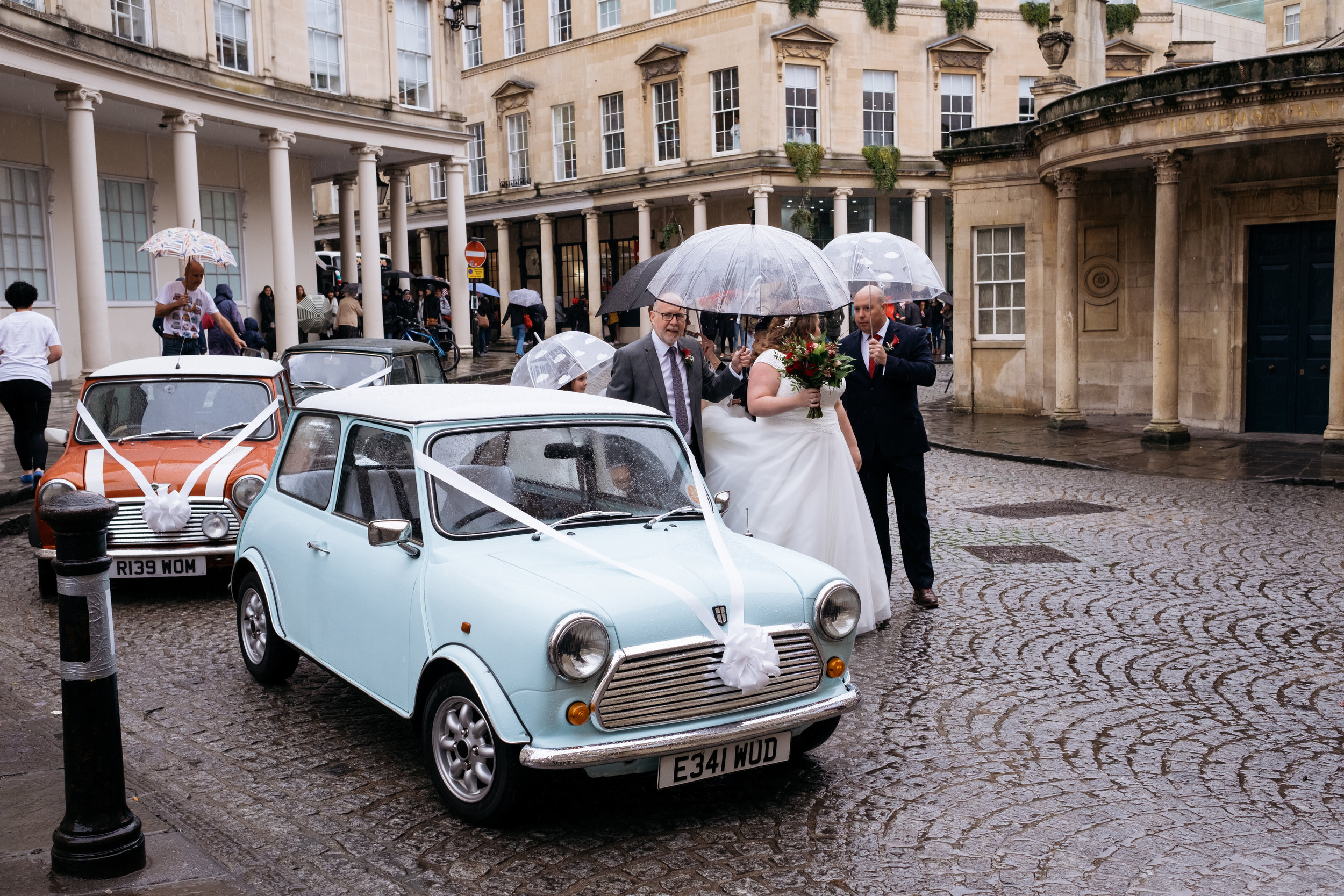 Classic mini wedding car at the Little Theatre in Bath