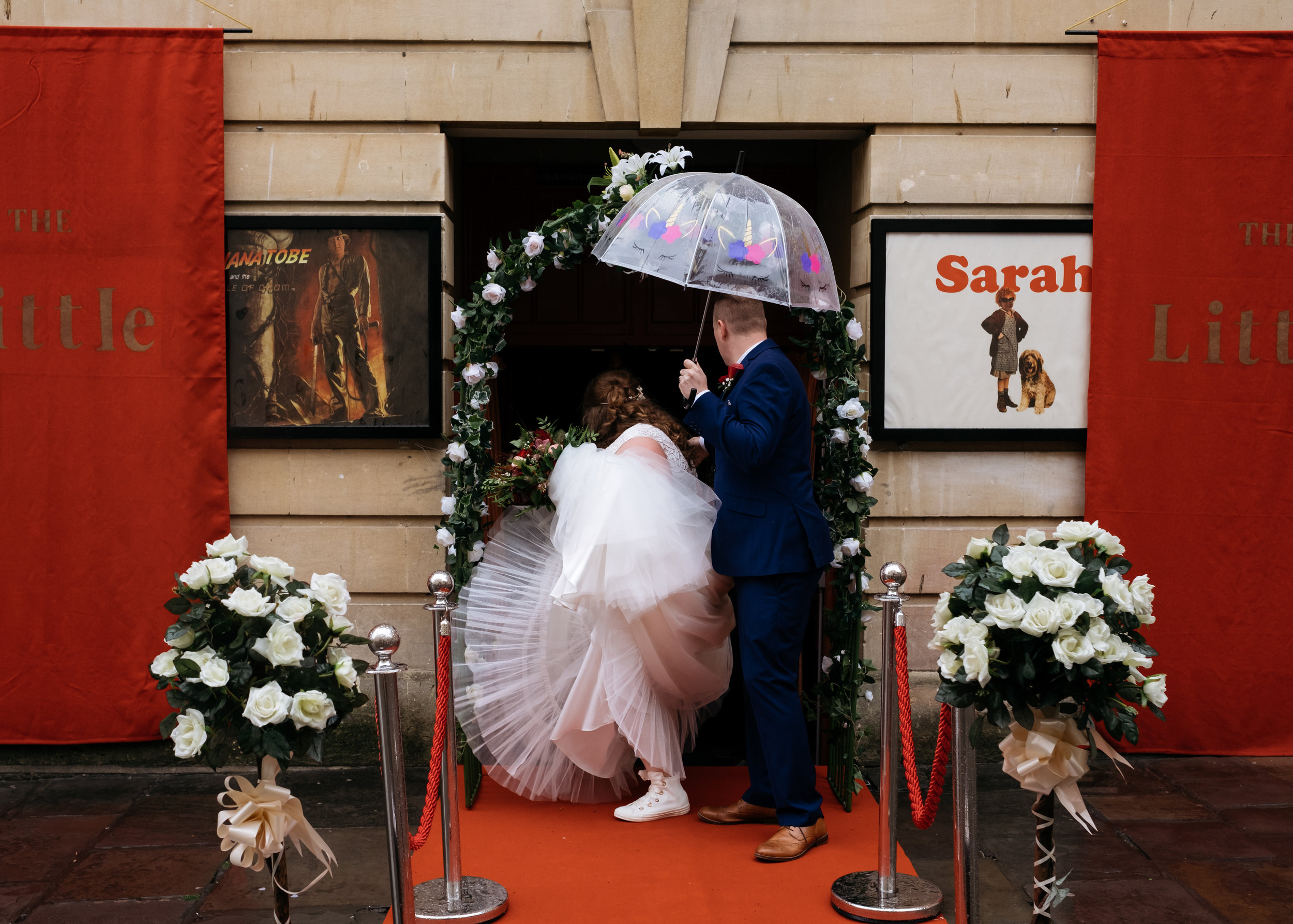 Bride and Groom outside the Little Theatre in Bath