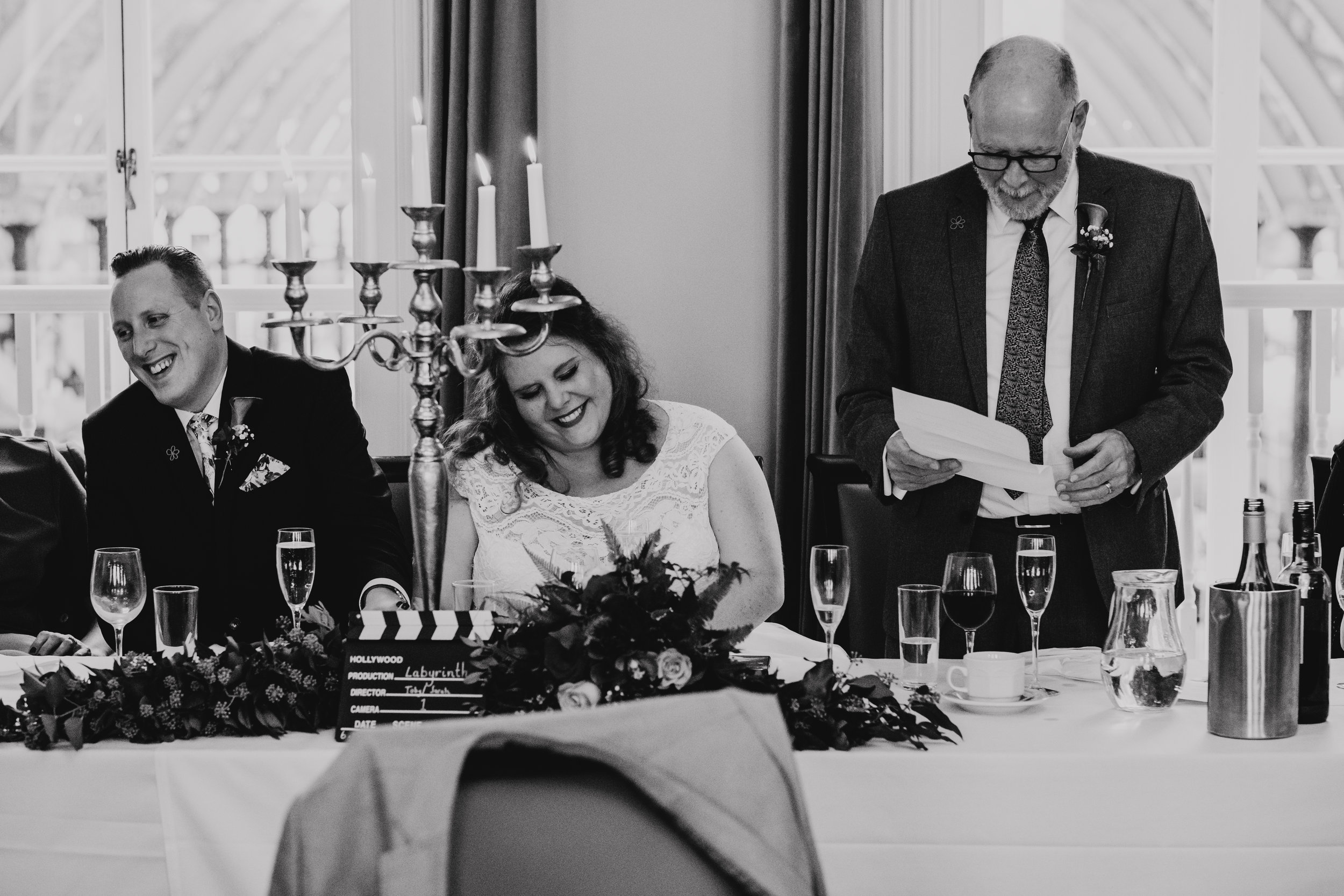 Father of the Bride speech makes Bride and Groom laugh