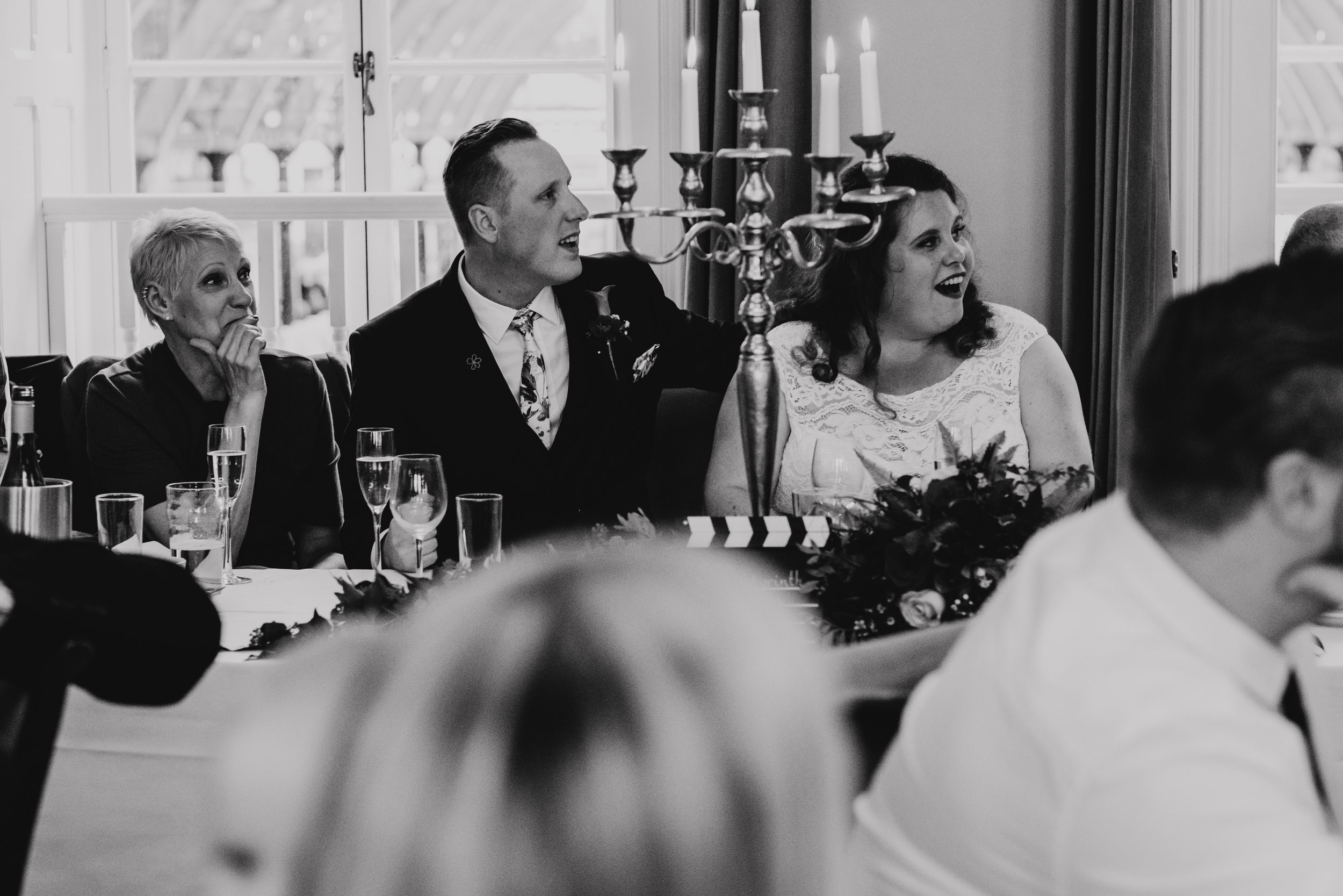 Bridal party react to Best Man's wedding speech
