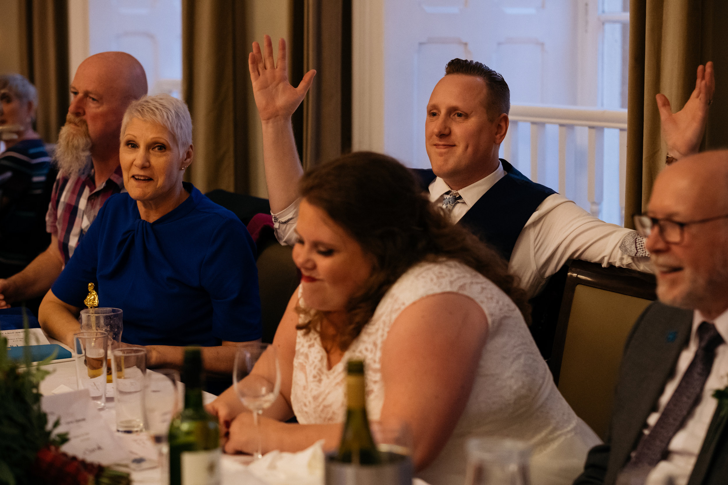 Wedding quiz reactions from Bride and Groom