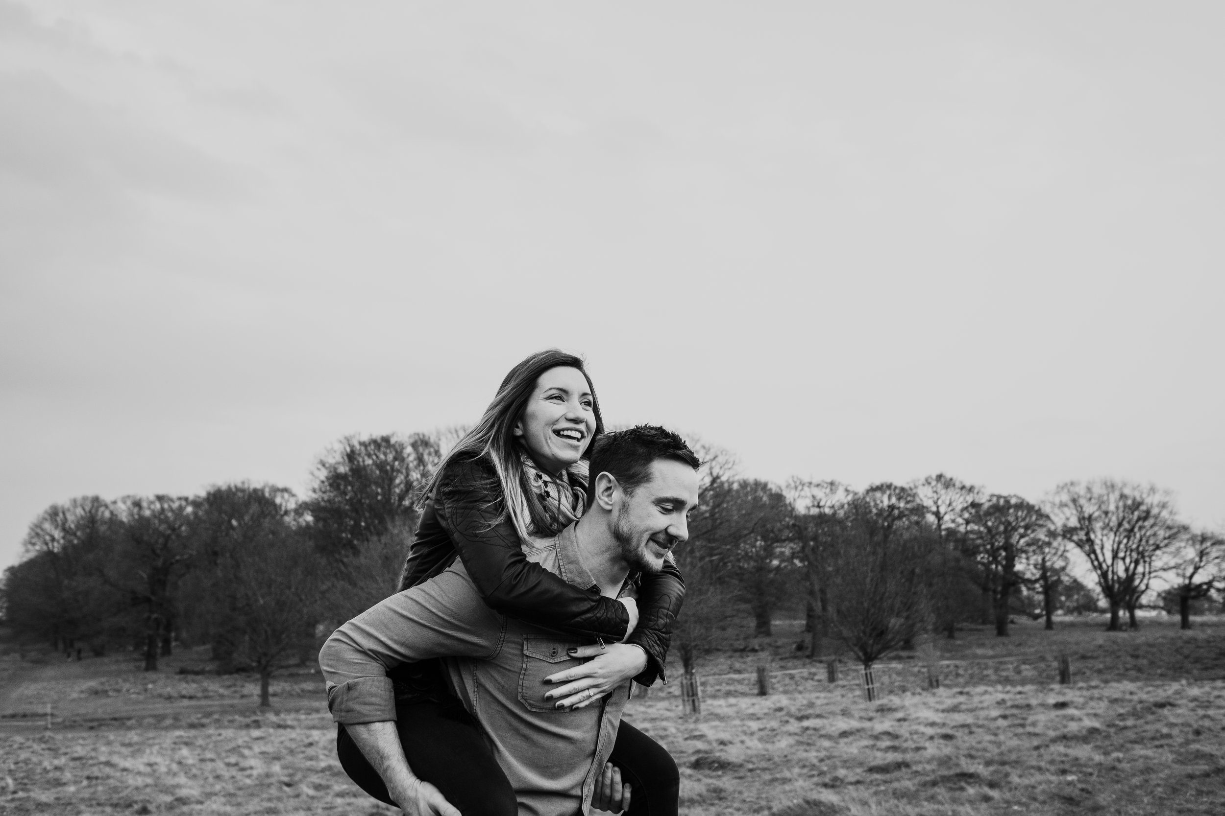 Piggyback Richmond Park engagement shoot