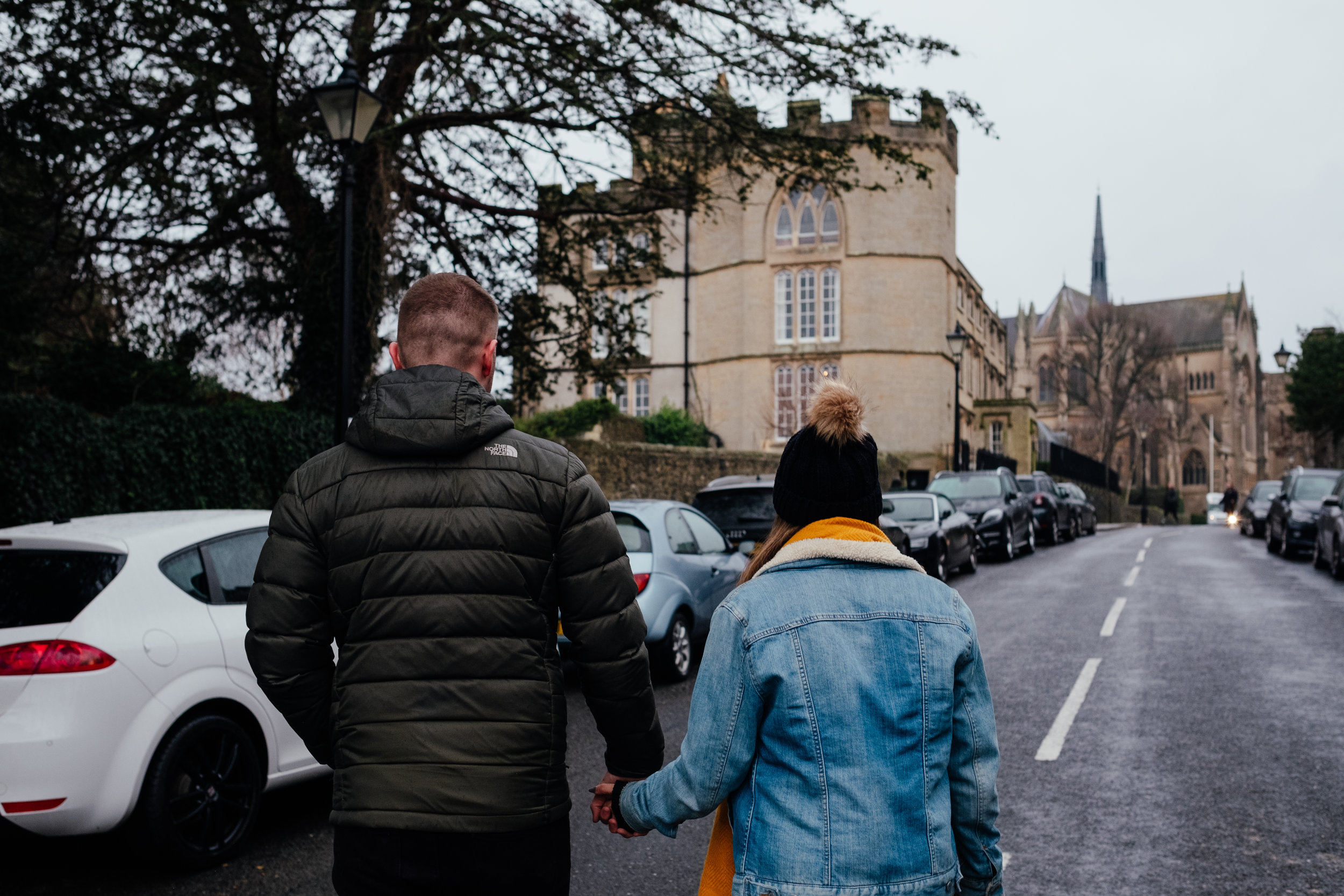 Winter engagement shoot in Arundel wearing The North Face