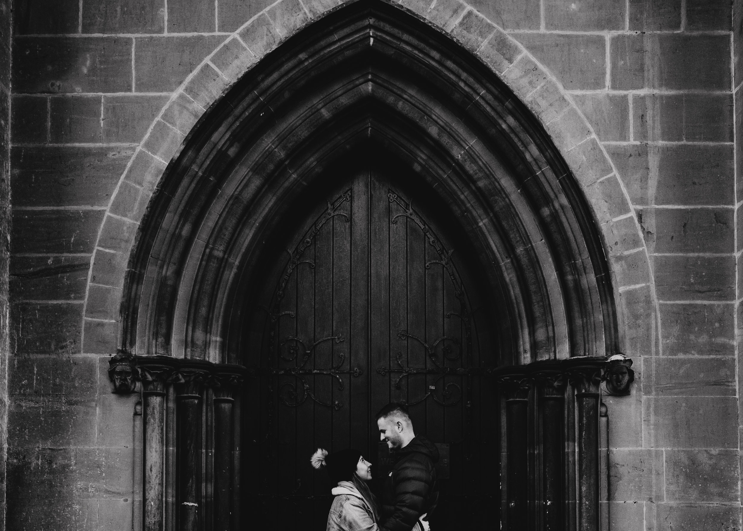 Cute couple on Arundel Cathedral engagement shoot
