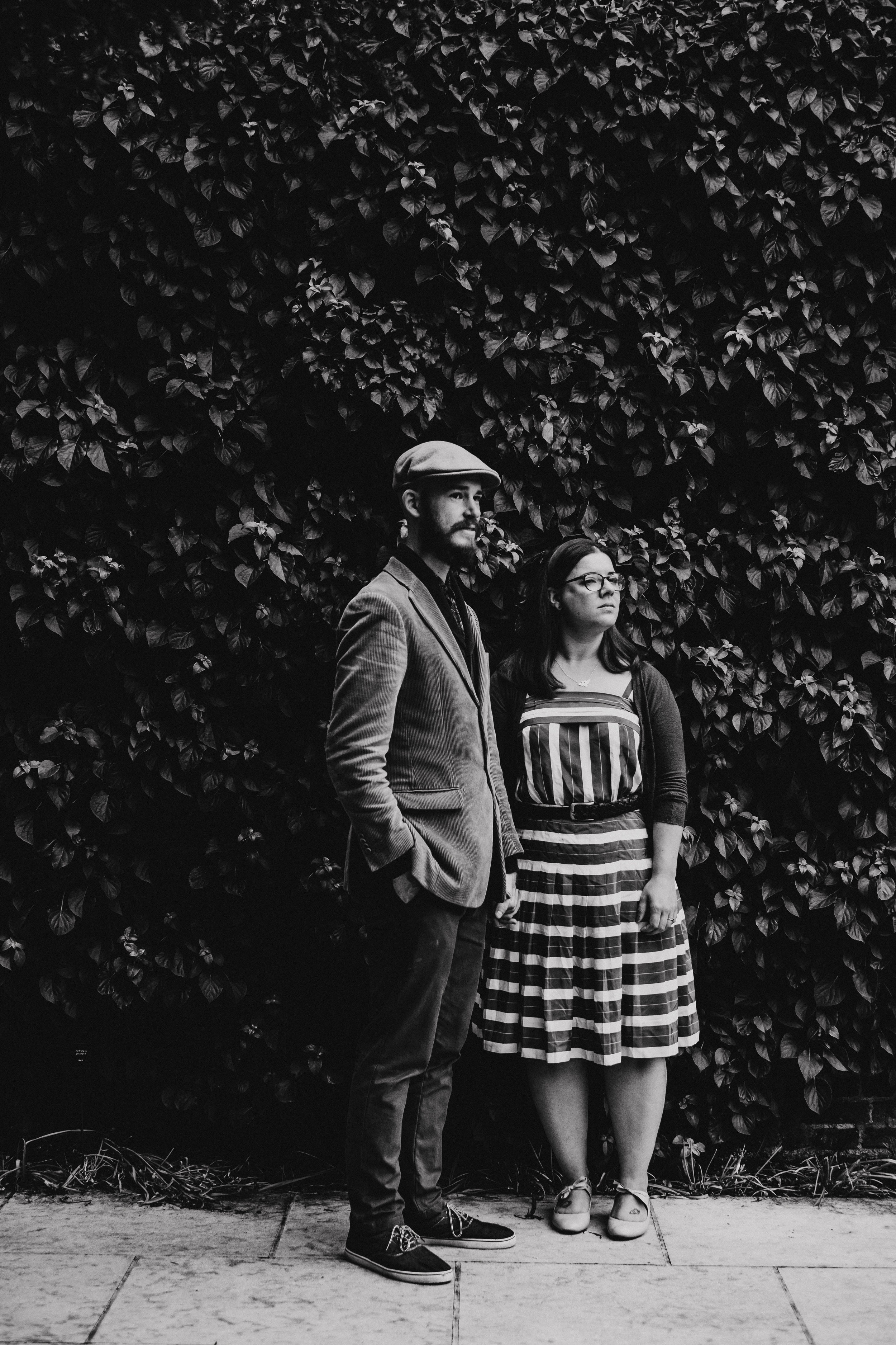 Cool engagement shoot black and white