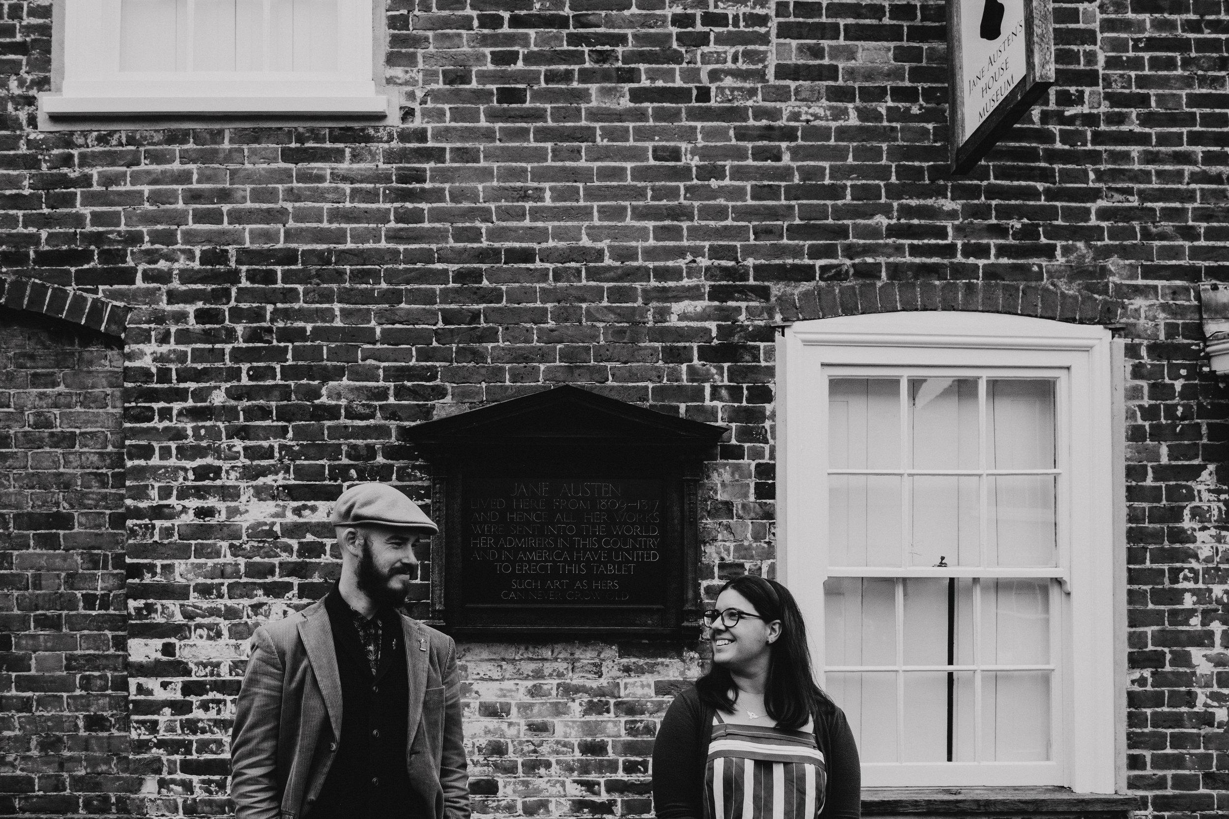 Lara and David engagement shoot at Jane Austen's house museum